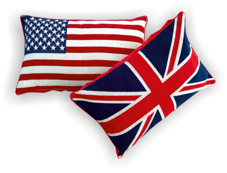 Wohndecken und Kissen - Flaggenkissen Kissen Dekokissen US Flagge Union Jack GB 40x60  - Onlineshop PremiumShop321