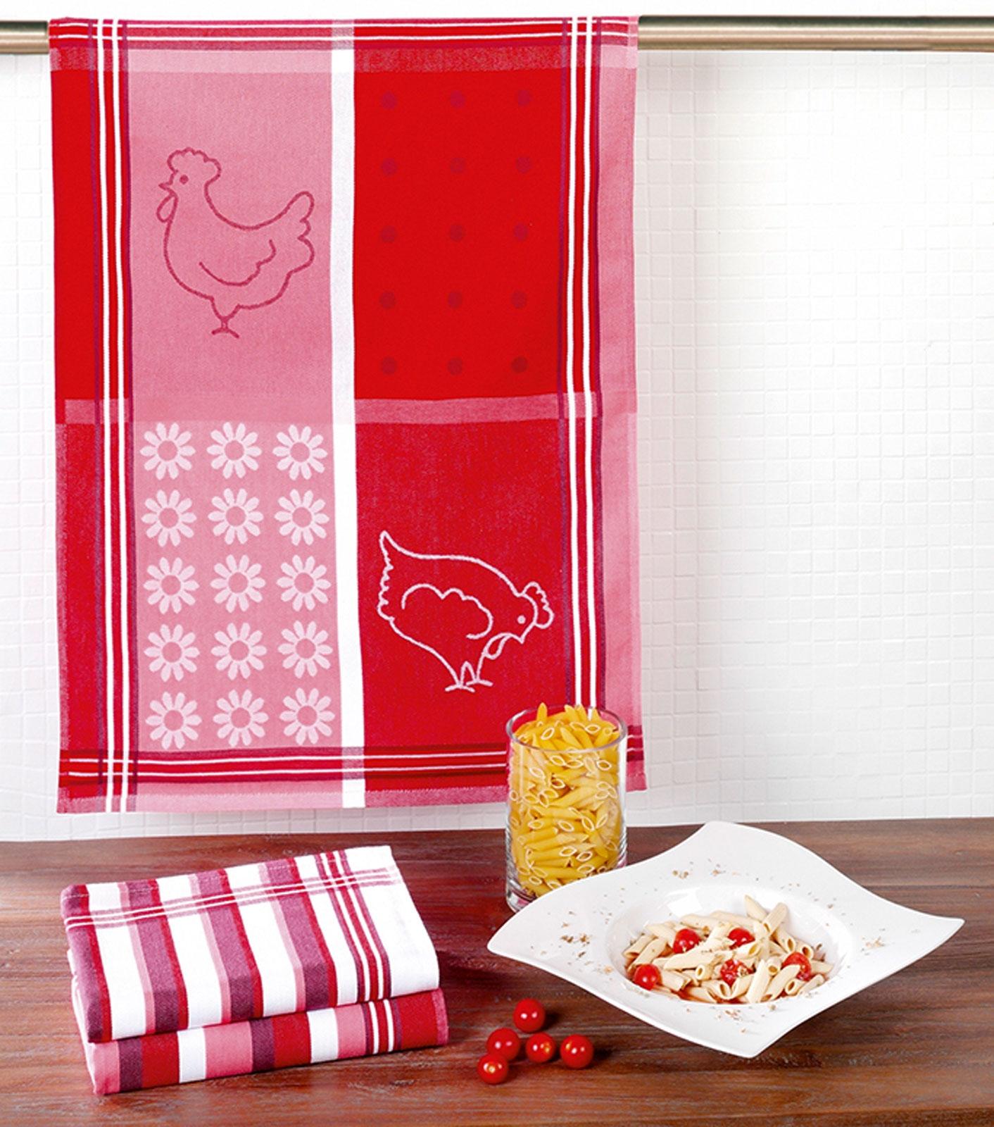 Küchentextilien - 3er Pack Geschirrtücher 50x70cm 100 Baumwolle Hühner rot  - Onlineshop PremiumShop321