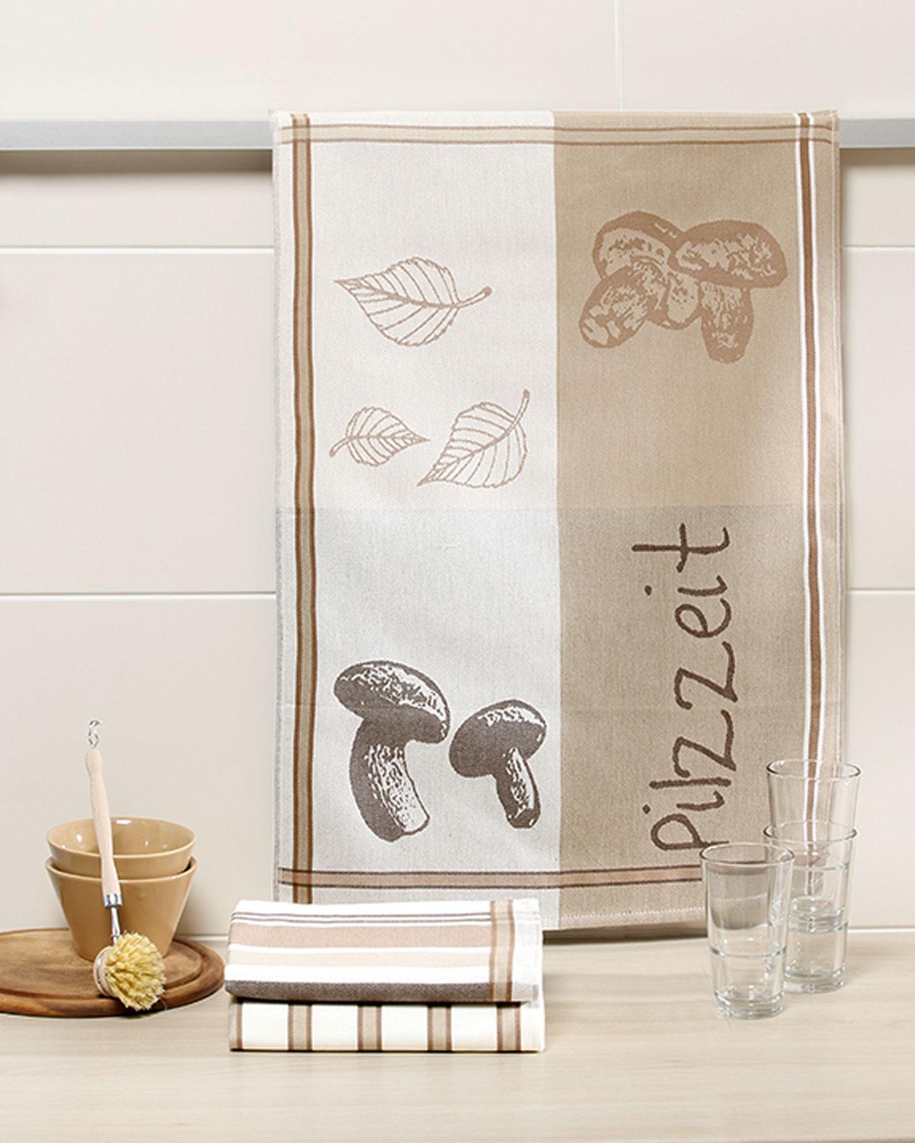 Küchentextilien - 3er Pack Geschirrtücher 50x70cm 100 Baumwolle Pilzzeit  - Onlineshop PremiumShop321