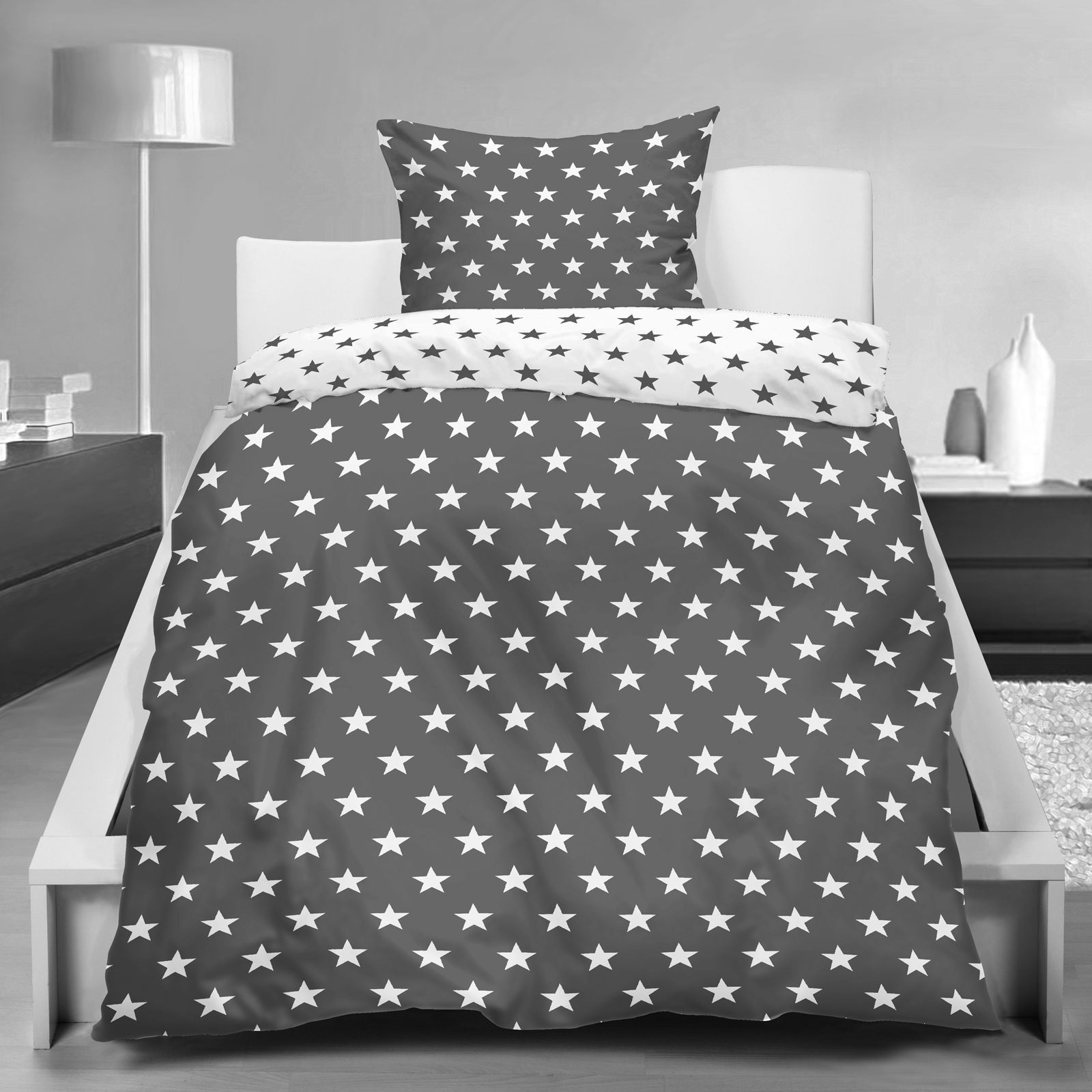 wende bettw sche stars sterne 135x200 80x80 microfaser rei verschluss ebay. Black Bedroom Furniture Sets. Home Design Ideas