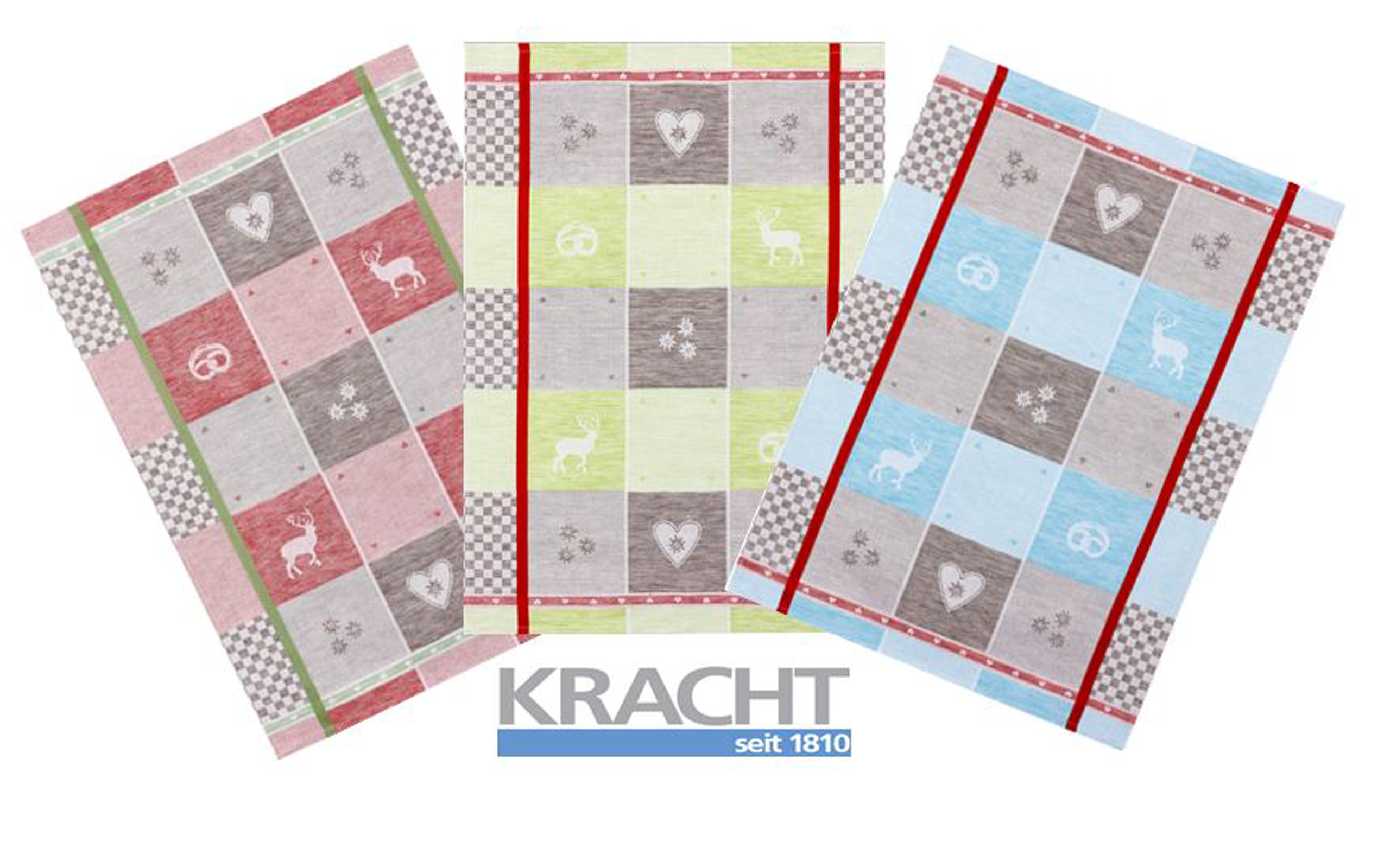 Küchentextilien - 3er Pack Kracht Halbleinen Geschirrtuch 50x70 farblich sortiert 2 250 60 Oktoberfest  - Onlineshop PremiumShop321