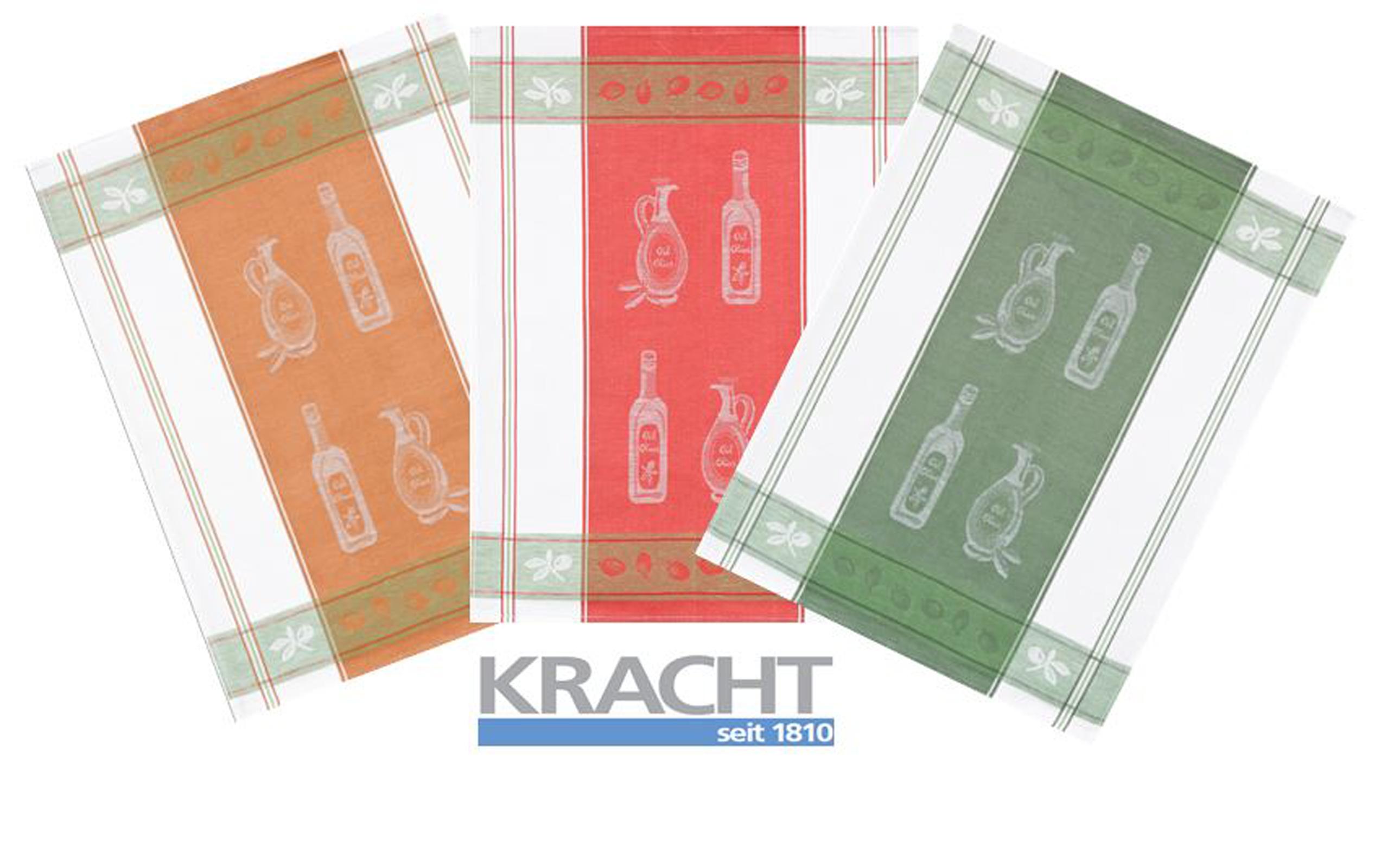 Küchentextilien - 3er Pack Kracht Halbleinen Geschirrtuch 50x70 farblich sortiert 2 251 15 Oel Essig  - Onlineshop PremiumShop321