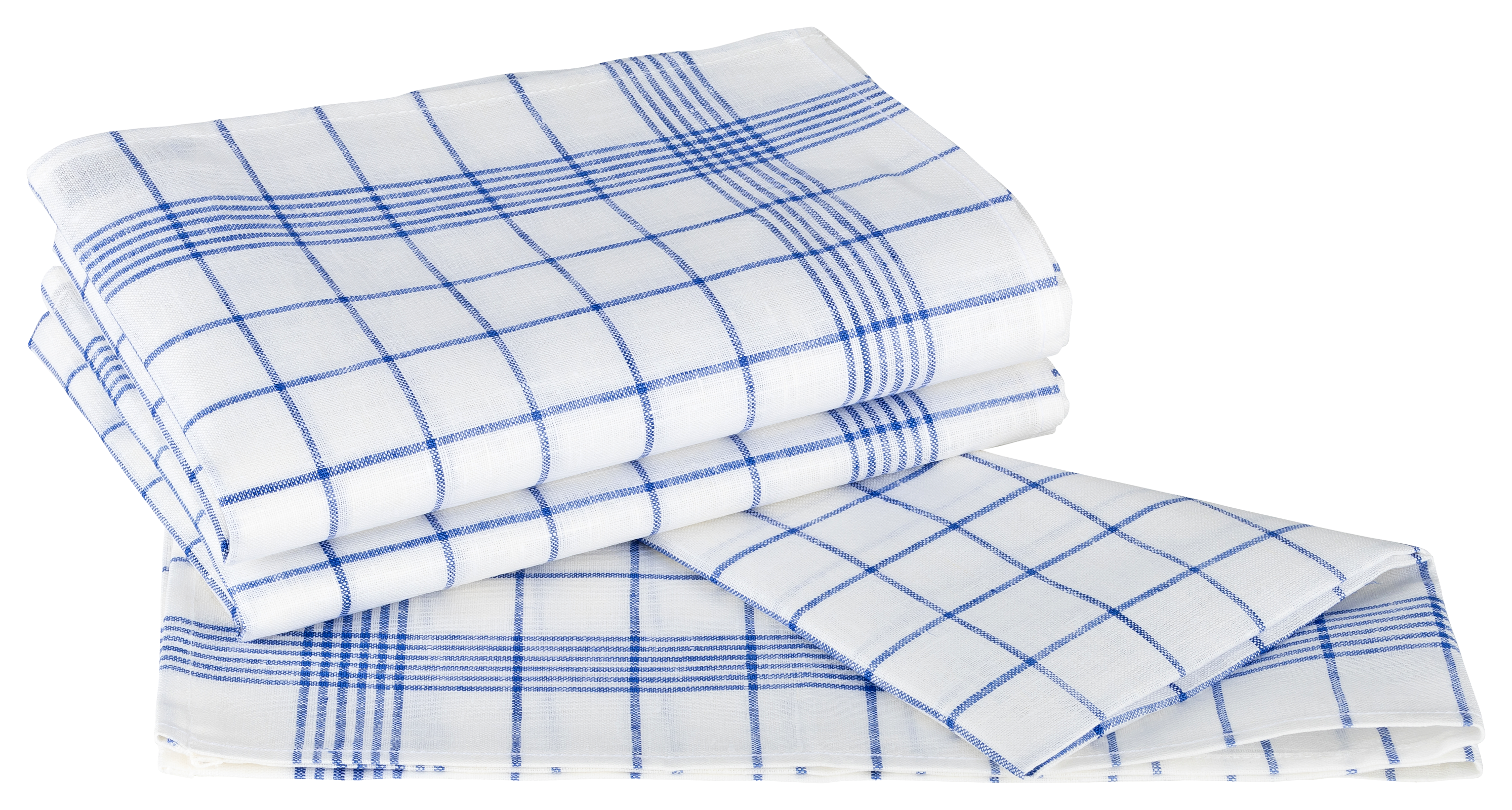 Küchentextilien - Kracht 3er Pack Geschirrtücher Gläsertücher Reinleinen 50x70 Karo 2 262 11 weiß blau  - Onlineshop PremiumShop321