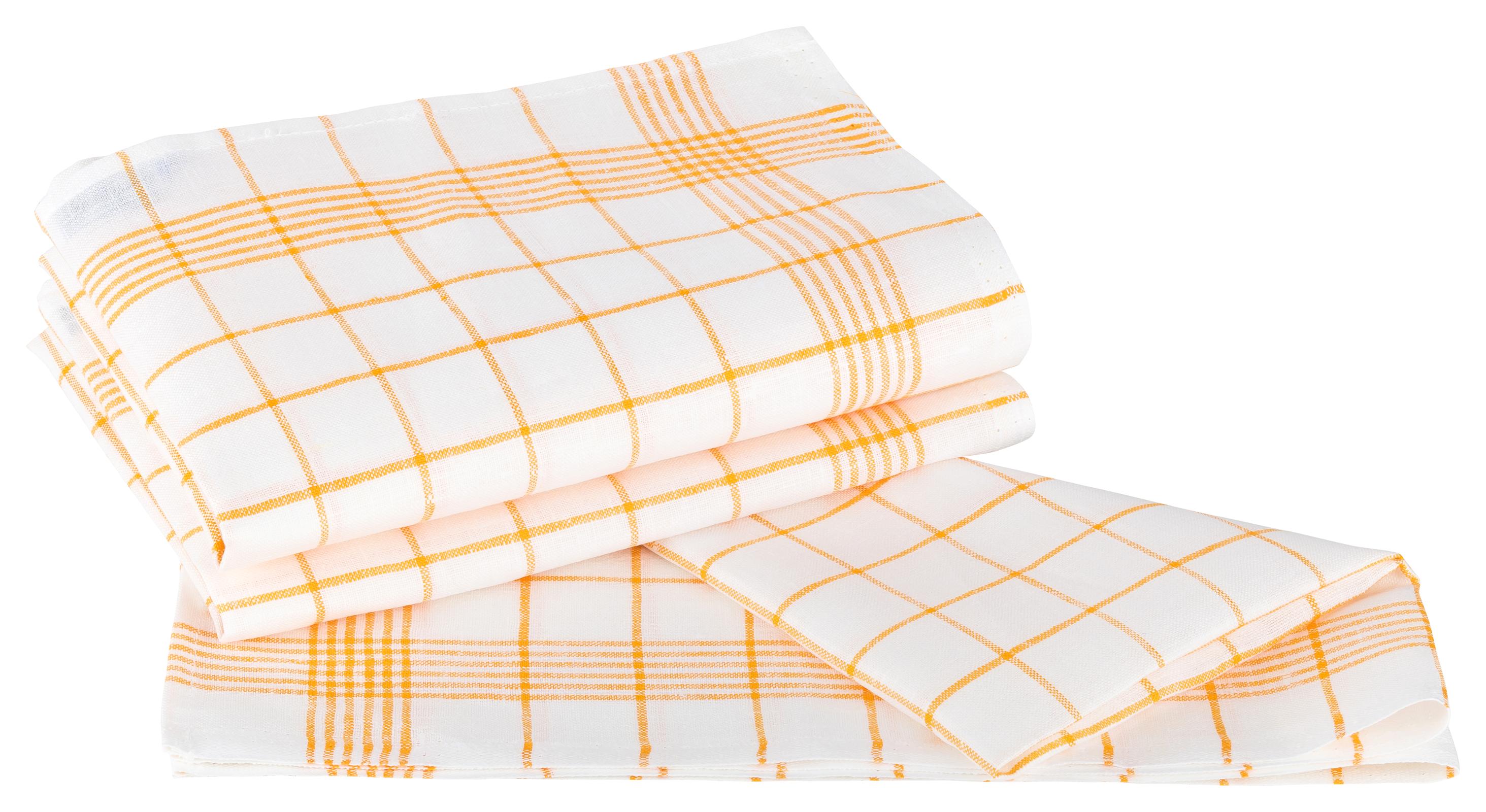 Küchentextilien - Kracht 3er Pack Geschirrtücher Gläsertücher Reinleinen 50x70 Karo 2 262 14 weiß gelb  - Onlineshop PremiumShop321