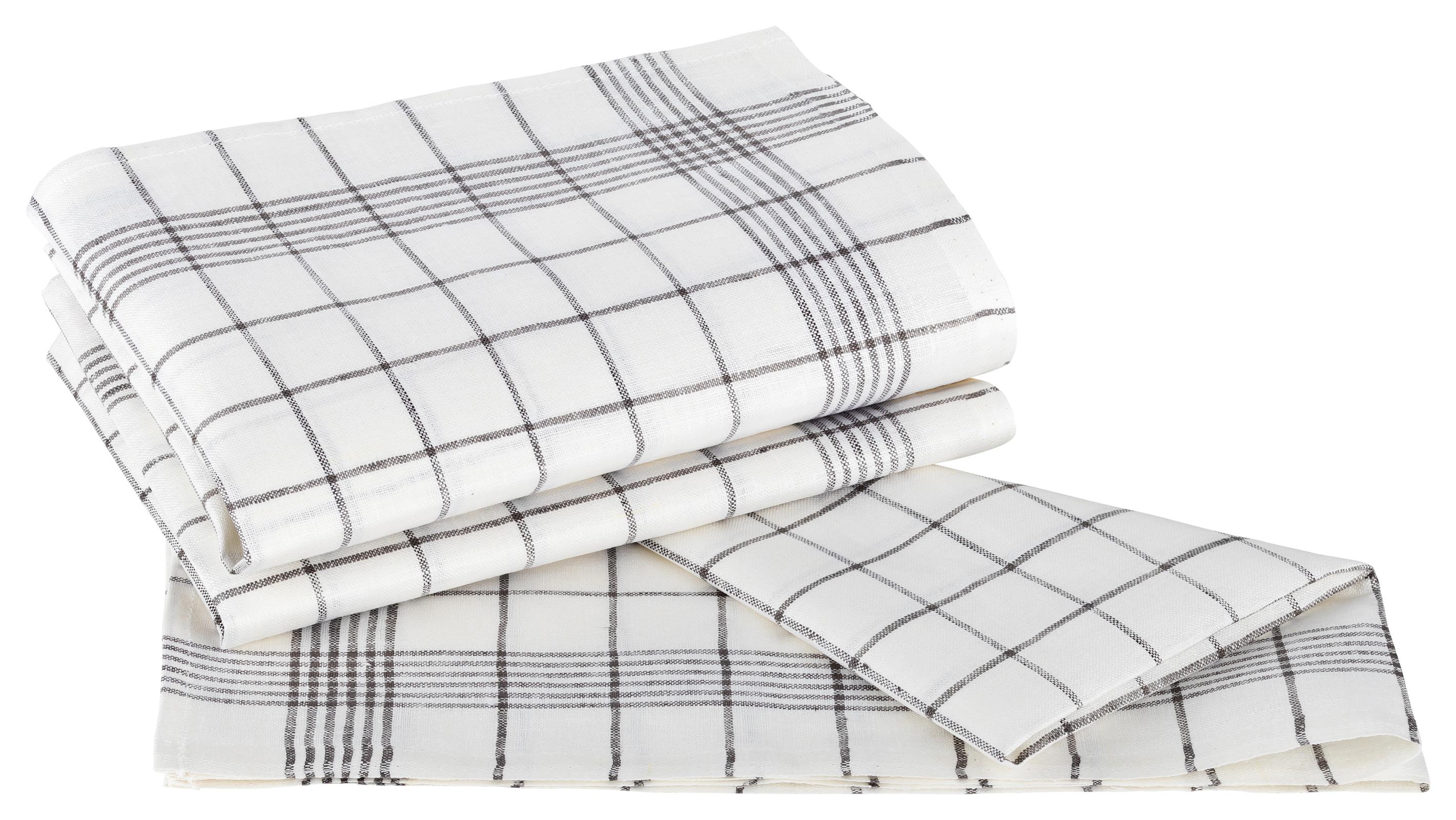 Küchentextilien - Kracht 3er Pack Geschirrtücher Gläsertücher Reinleinen 50x70 Karo 2 262 18 weiß grau  - Onlineshop PremiumShop321