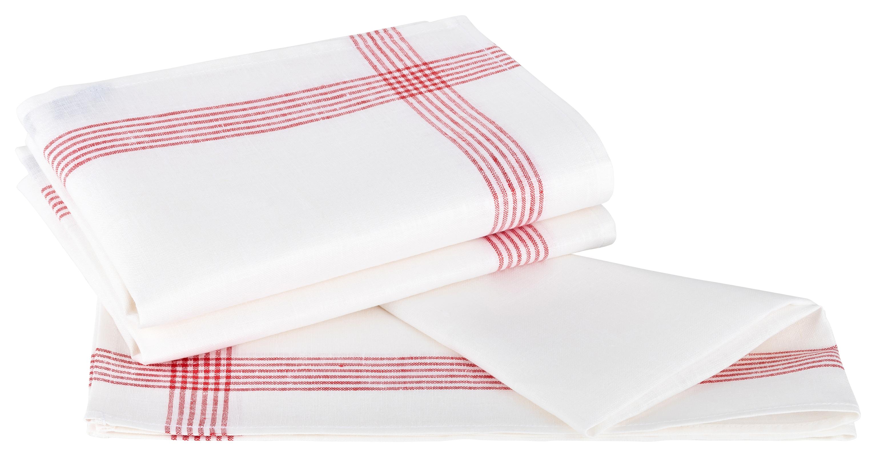 Küchentextilien - Kracht 3er Pack Geschirrtücher Gläsertücher 100 Leinen Reinleinen 50x70 Rahmen 2 263 10 weiß rot  - Onlineshop PremiumShop321