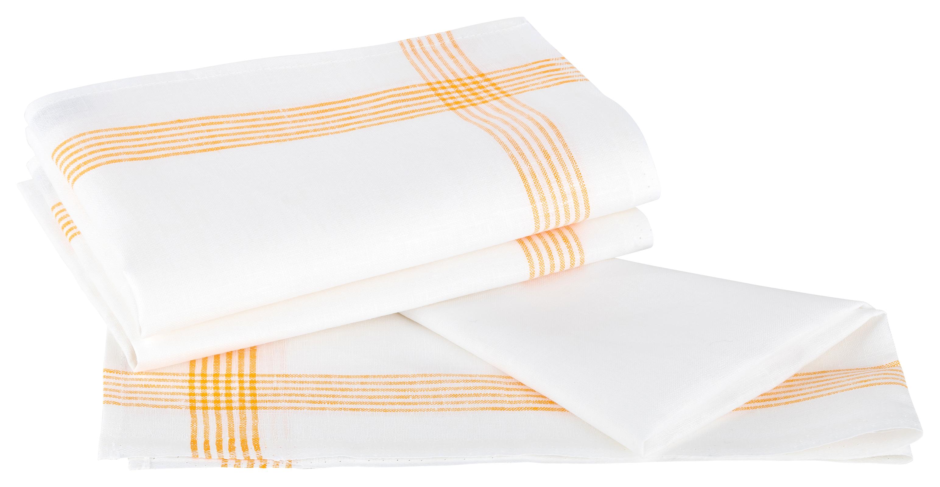 Küchentextilien - Kracht 3er Pack Geschirrtücher Gläsertücher 100 Leinen Reinleinen 50x70 Rahmen 2 263 14 weiß gelb  - Onlineshop PremiumShop321