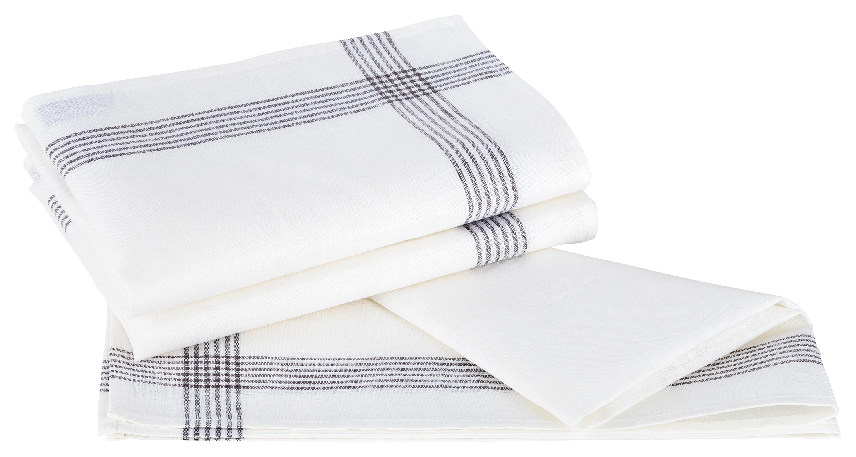 Küchentextilien - Kracht 3er Pack Geschirrtücher Gläsertücher 100 Leinen Reinleinen 50x70 Rahmen 2 263 18 weiß grau  - Onlineshop PremiumShop321