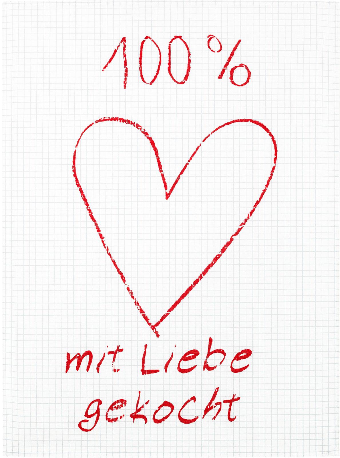 Küchentextilien - Kracht Halbleinen Geschirrtuch 50x70 Motiv 2 806 00 Mit Liebe gekocht  - Onlineshop PremiumShop321