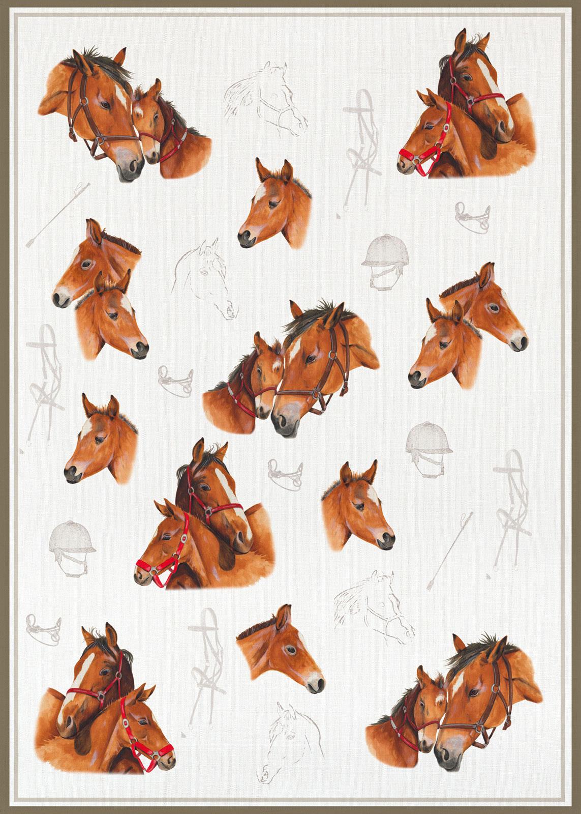 Küchentextilien - Kracht Halbleinen Geschirrtuch 50x70 Motiv 2 841 00 Pferde  - Onlineshop PremiumShop321