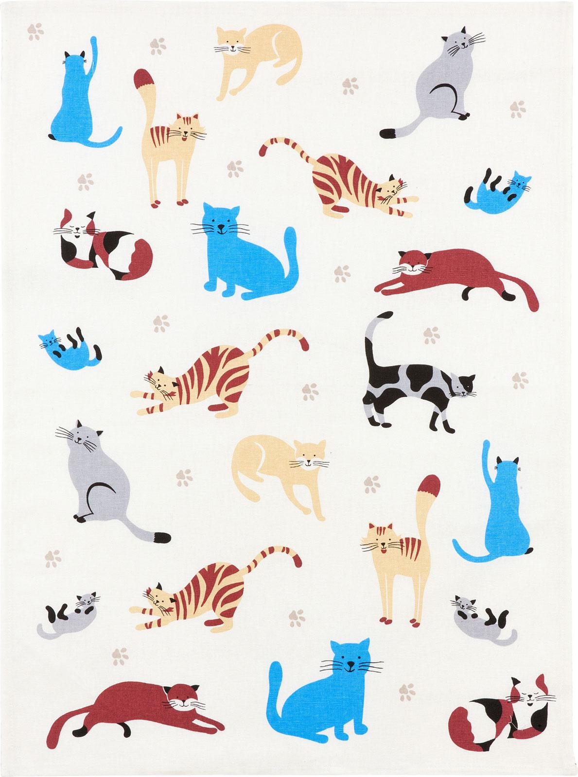 Küchentextilien - Kracht Halbleinen Geschirrtuch 50x70 Motiv 2 856 00 Katzenpfoten  - Onlineshop PremiumShop321