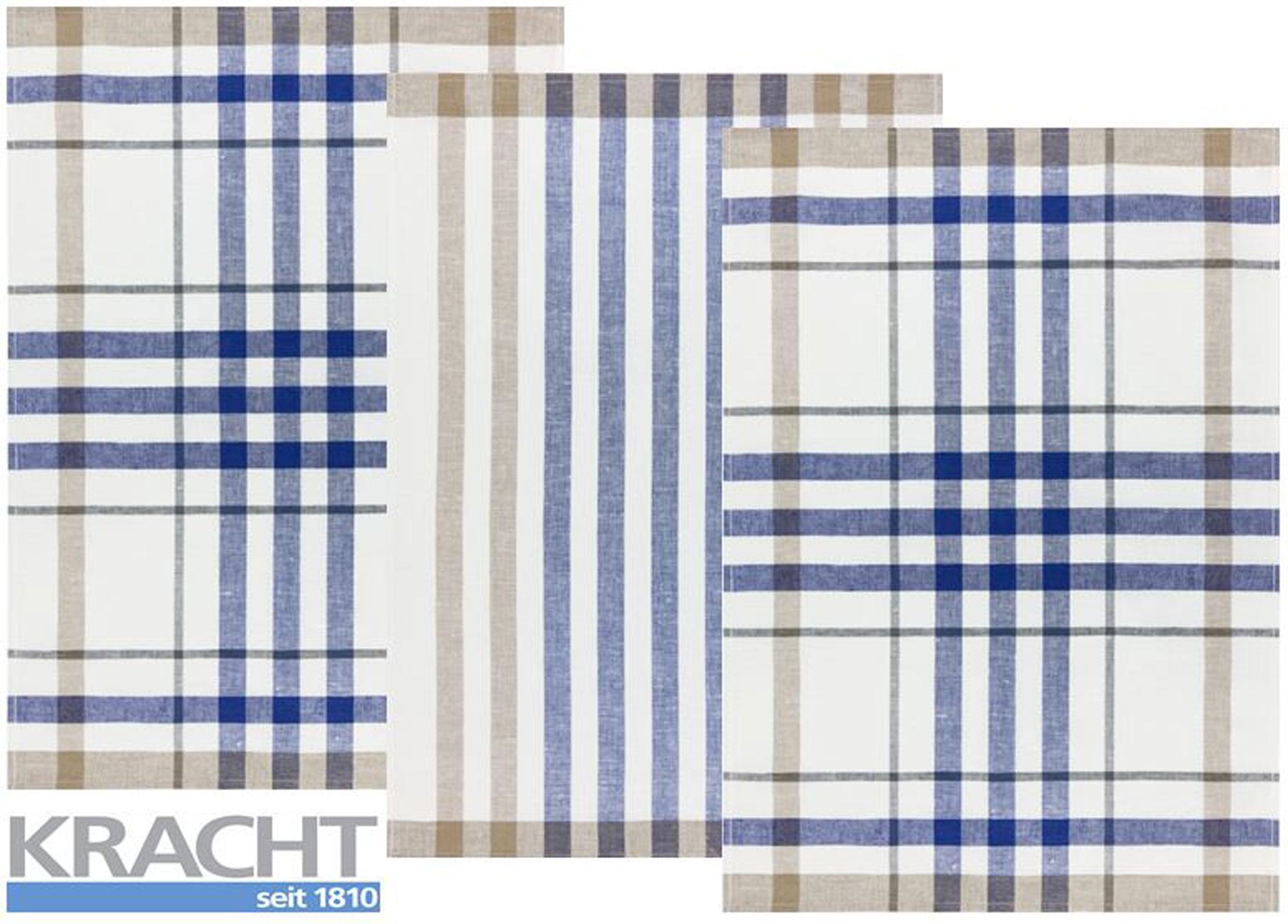 Küchentextilien - 3er Pack Kracht Halbleinen Geschirrtuch 50x70 2x Karo 1x Streifen 2 930 11 blau  - Onlineshop PremiumShop321