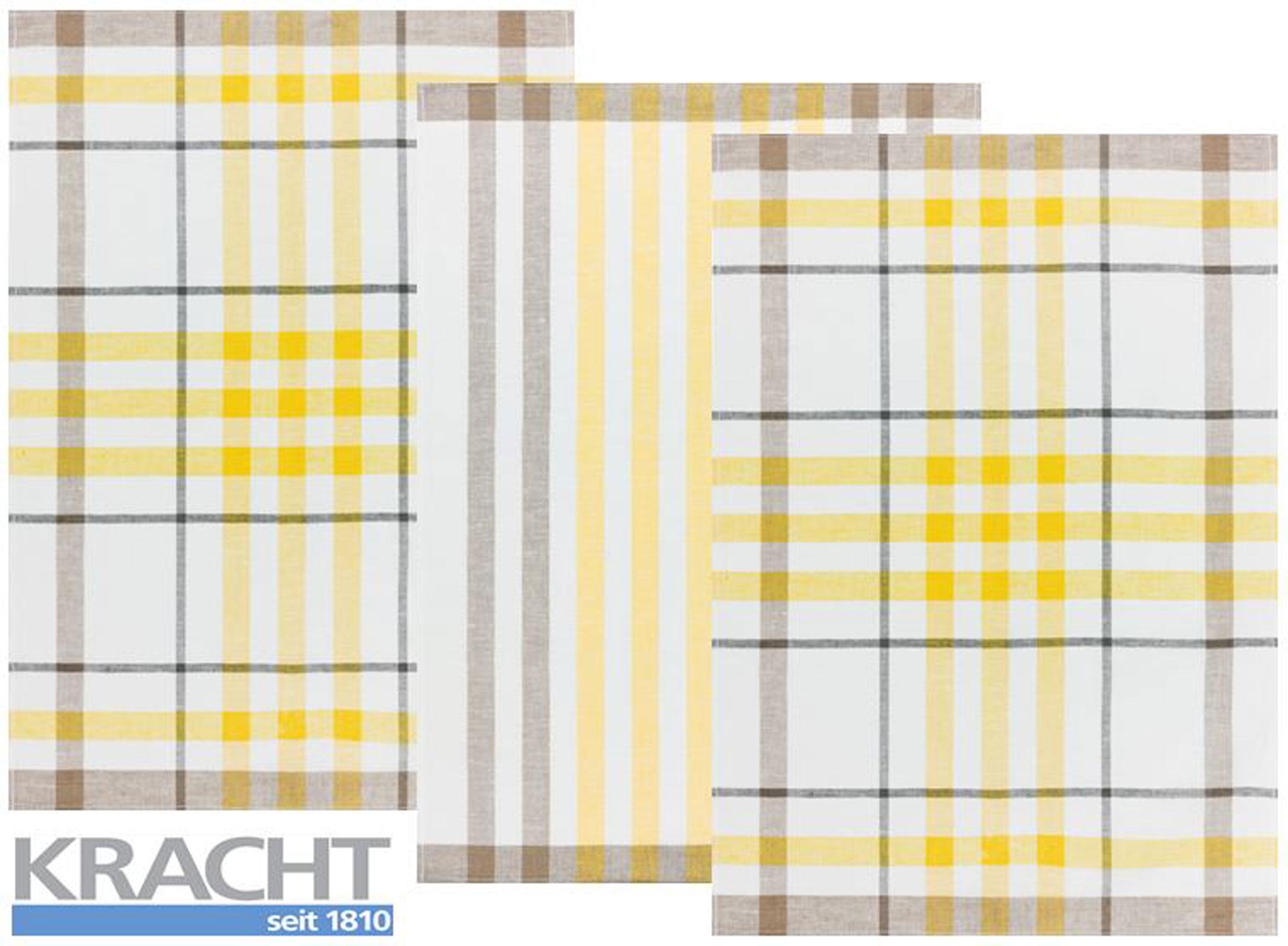 Küchentextilien - 3er Pack Kracht Halbleinen Geschirrtuch 50x70 2x Karo 1x Streifen 2 930 14 gelb  - Onlineshop PremiumShop321