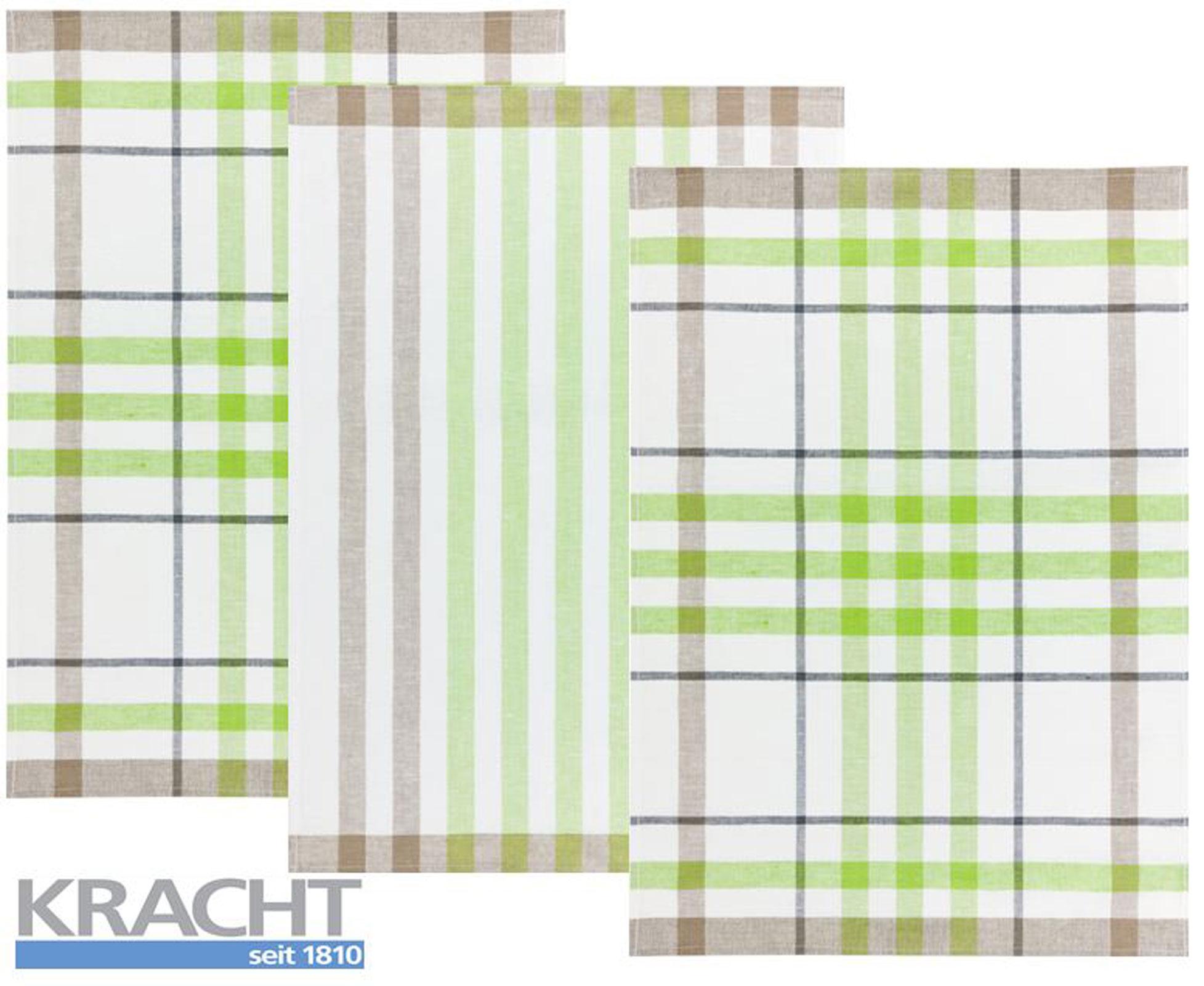 Küchentextilien - 3er Pack Kracht Halbleinen Geschirrtuch 50x70 2x Karo 1x Streifen 2 930 16 grün  - Onlineshop PremiumShop321