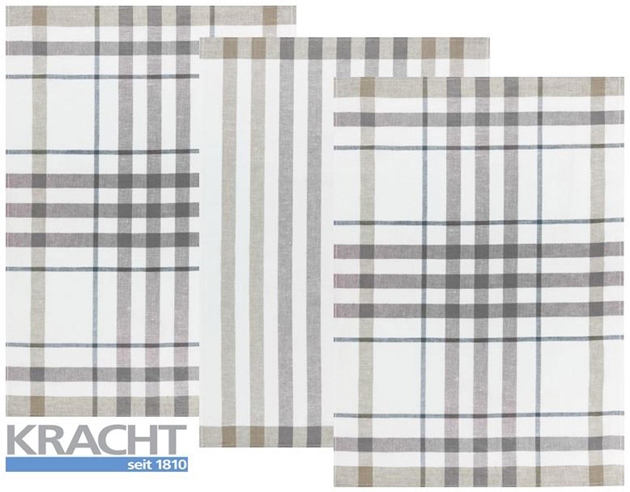Küchentextilien - 3er Pack Kracht Halbleinen Geschirrtuch 50x70 2x Karo 1x Streifen 2 930 18 grau  - Onlineshop PremiumShop321