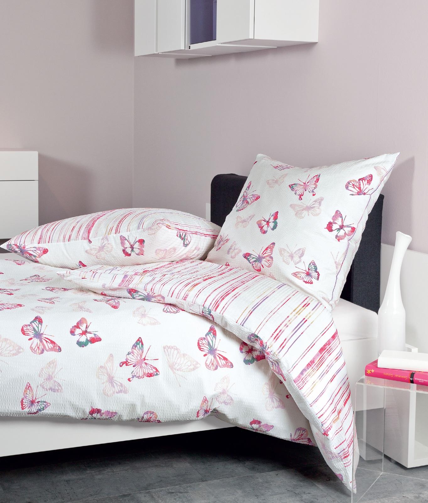 Bettwäsche - Janine Mako Soft Seersucker Bettwäsche Tango 135x200 80x80 20053 Schmetterling incl. Aufbewahrungsbeutel  - Onlineshop PremiumShop321