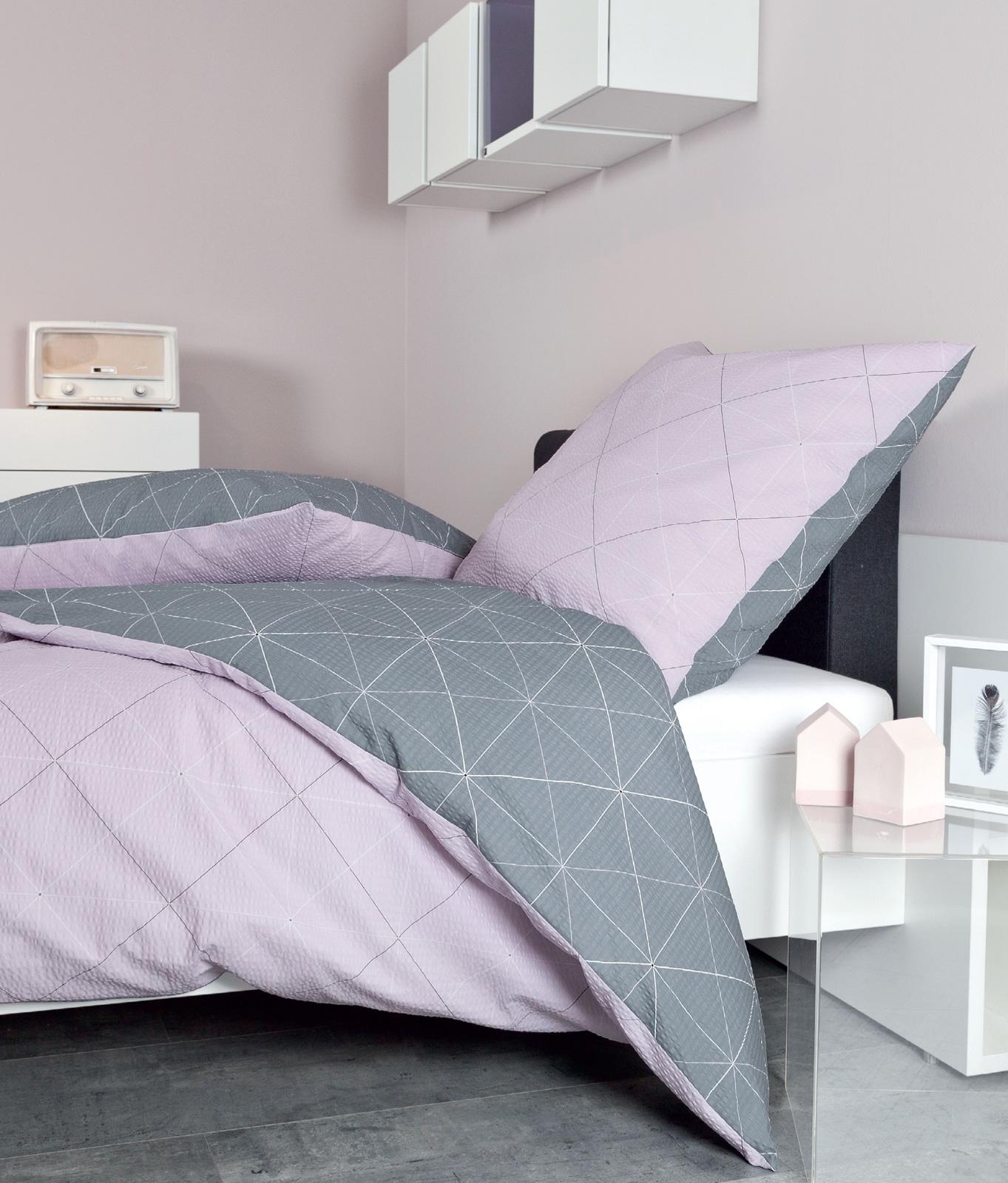 Bettwäsche - Janine Mako Soft Seersucker Bettwäsche Tango 135x200 80x80 20056 rosa silber incl. Aufbewahrungsbeutel  - Onlineshop PremiumShop321