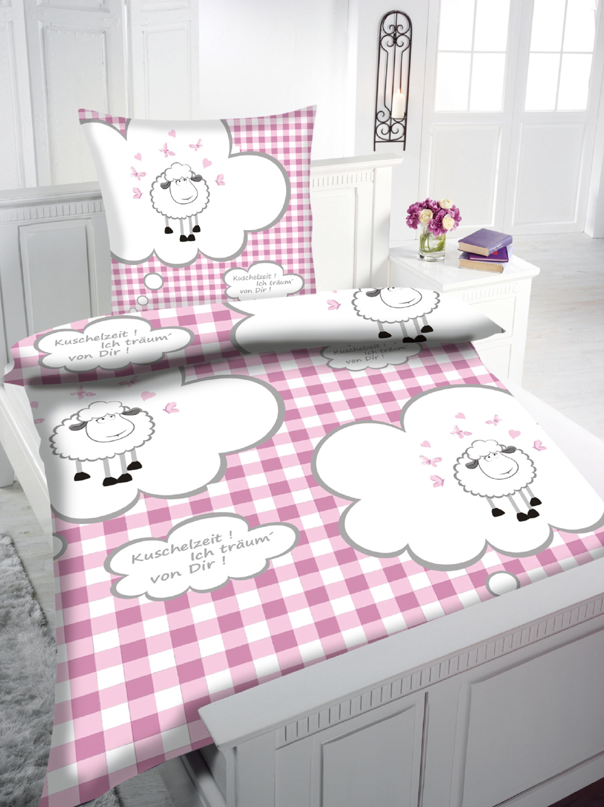 kinder bettw sche flanell schafe kinderbettw sche art 2265 ebay. Black Bedroom Furniture Sets. Home Design Ideas