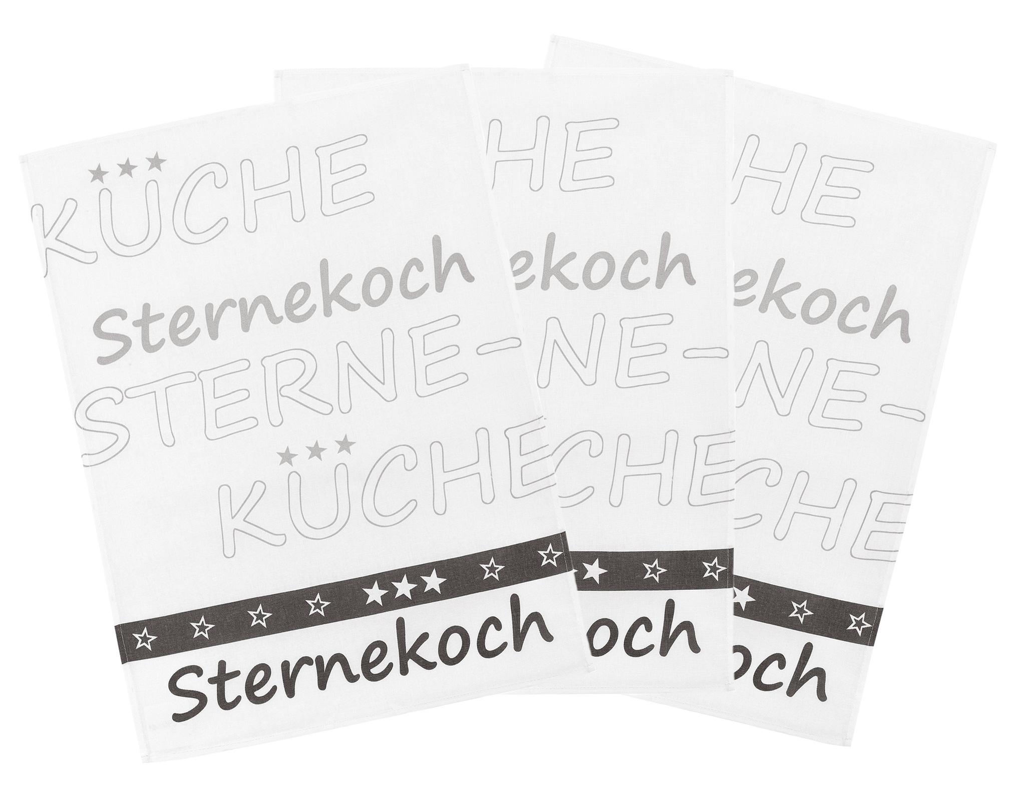 Küchentextilien - 3er Pack Kracht Halbleinen Geschirrtuch Sternekoch 50x70 cm  - Onlineshop PremiumShop321