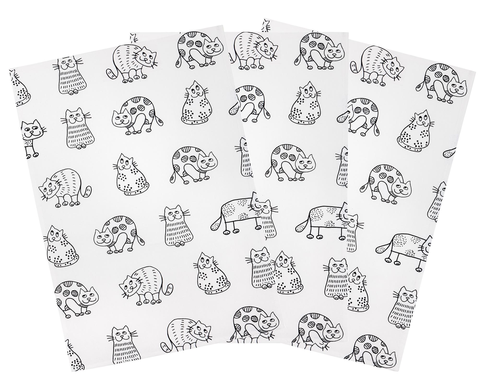 Küchentextilien - 3er Pack Kracht Halbleinen Geschirrtuch Katzen 50x70 cm Design Katzenreihe  - Onlineshop PremiumShop321