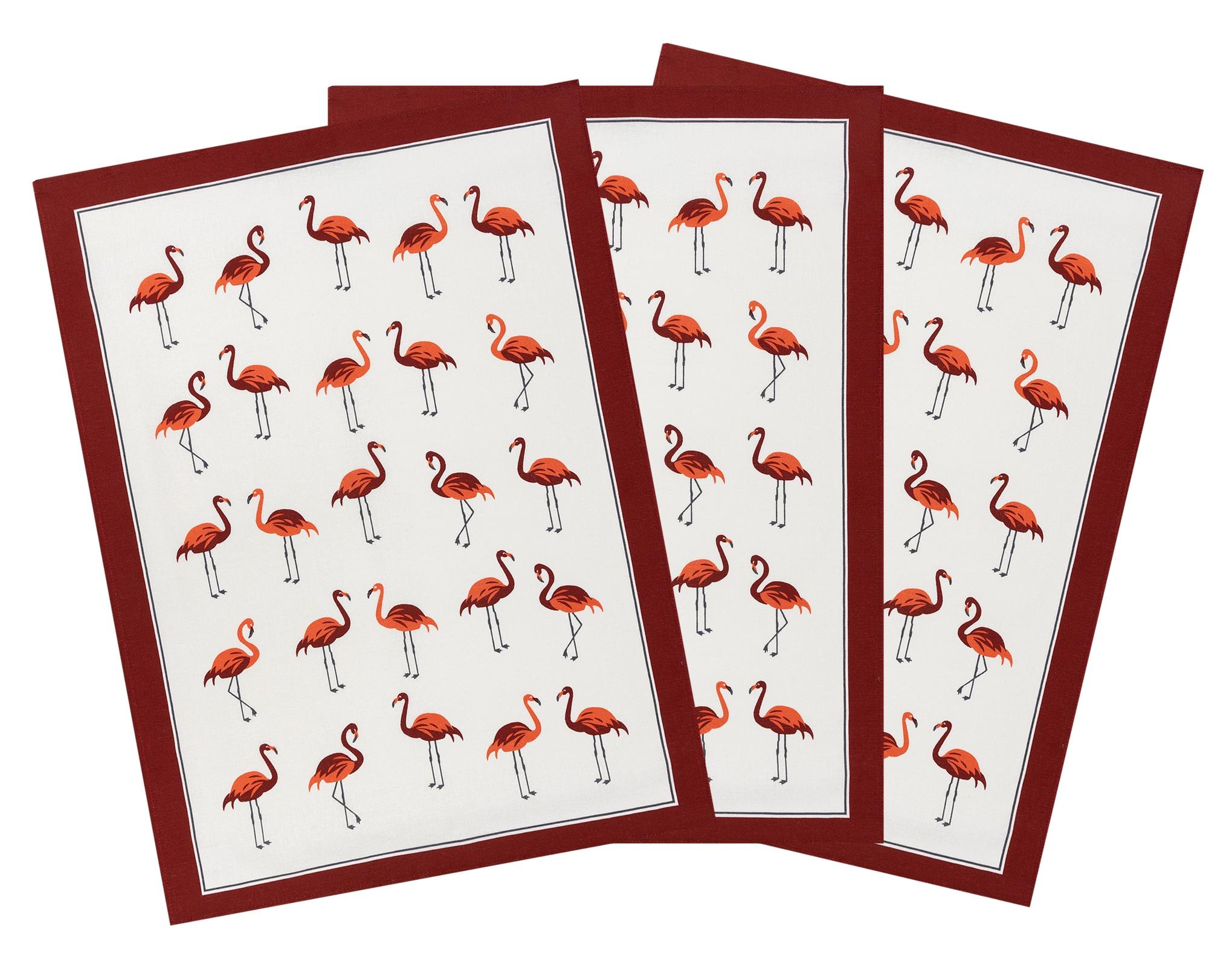 Küchentextilien - 3er Pack Kracht Halbleinen Geschirrtuch Flamingos 50x70 cm  - Onlineshop PremiumShop321