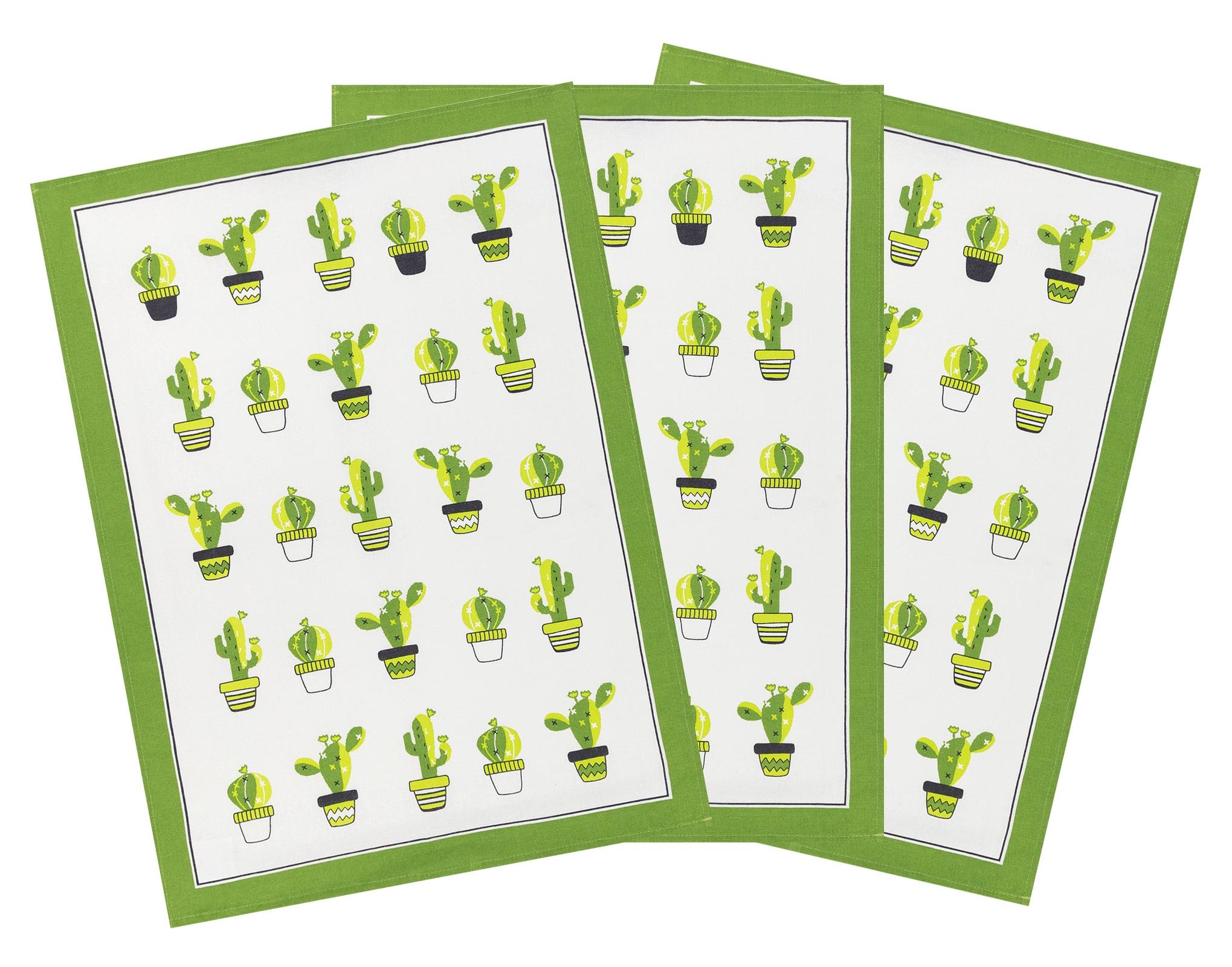 Küchentextilien - 3er Pack Kracht Halbleinen Geschirrtuch Kaktus 50x70 cm  - Onlineshop PremiumShop321