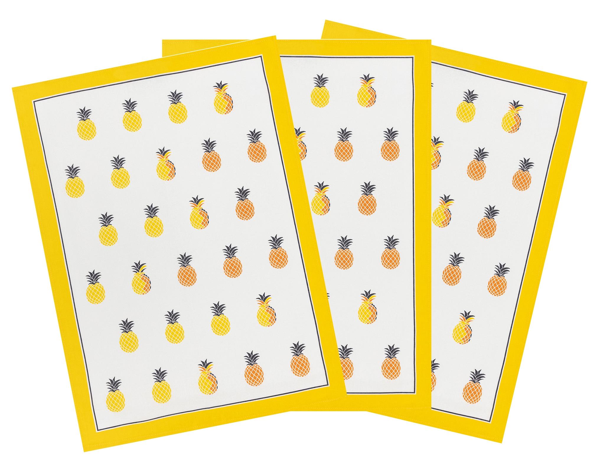Küchentextilien - 3er Pack Kracht Halbleinen Geschirrtuch Ananas 50x70 cm  - Onlineshop PremiumShop321