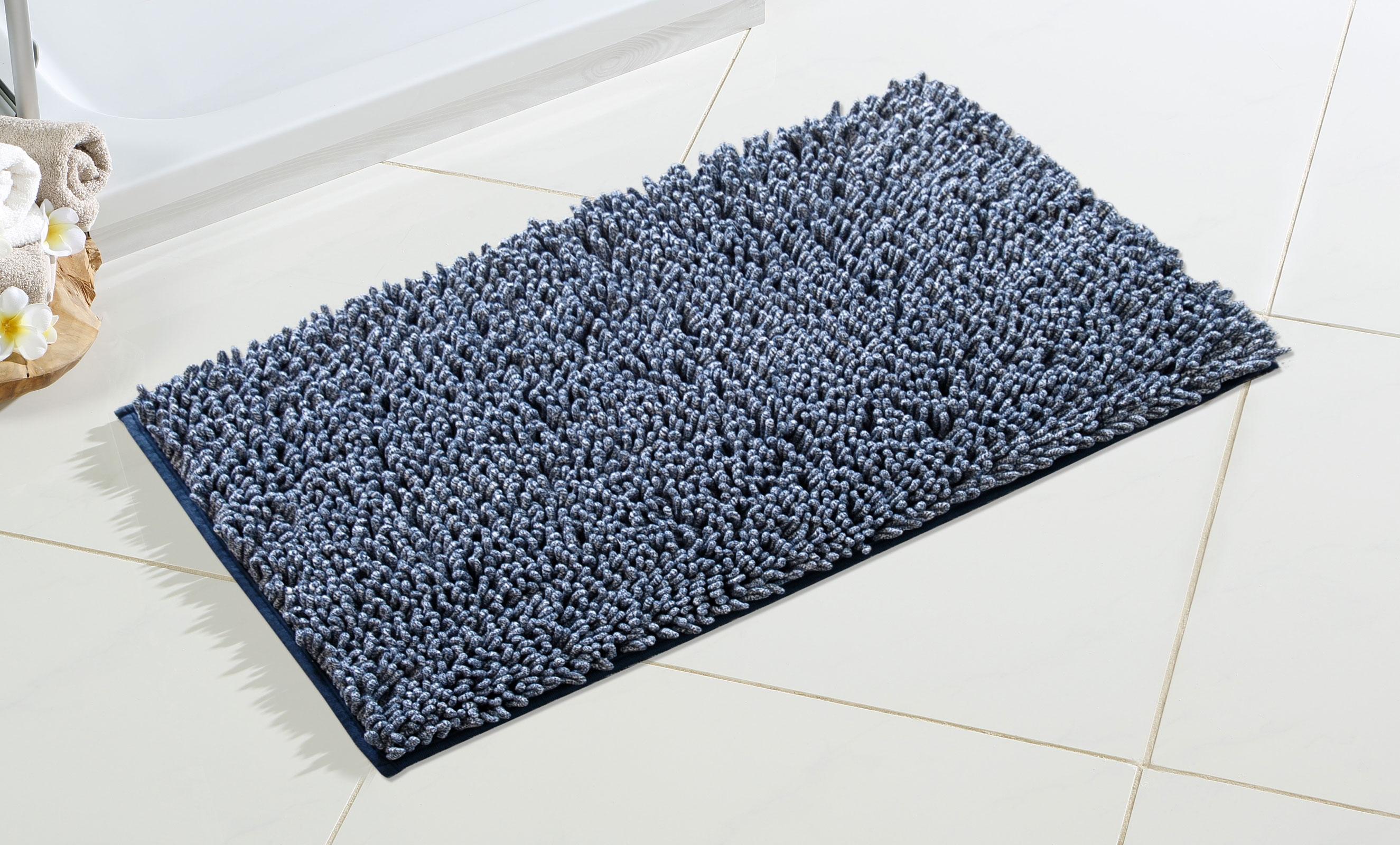 Badtextilien - Goldmond Luxus Hochflor Melange Badeteppich Badvorleger blau 60x100  - Onlineshop PremiumShop321