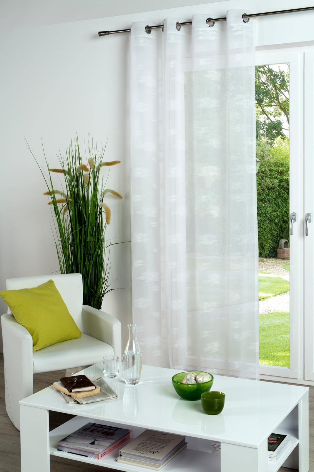 Gardinen und Vorhänge - Ösenschal Vorhang Gardine lichtdurchlässig 135x245 mit Metallösen Maren weiß 300301 1  - Onlineshop PremiumShop321