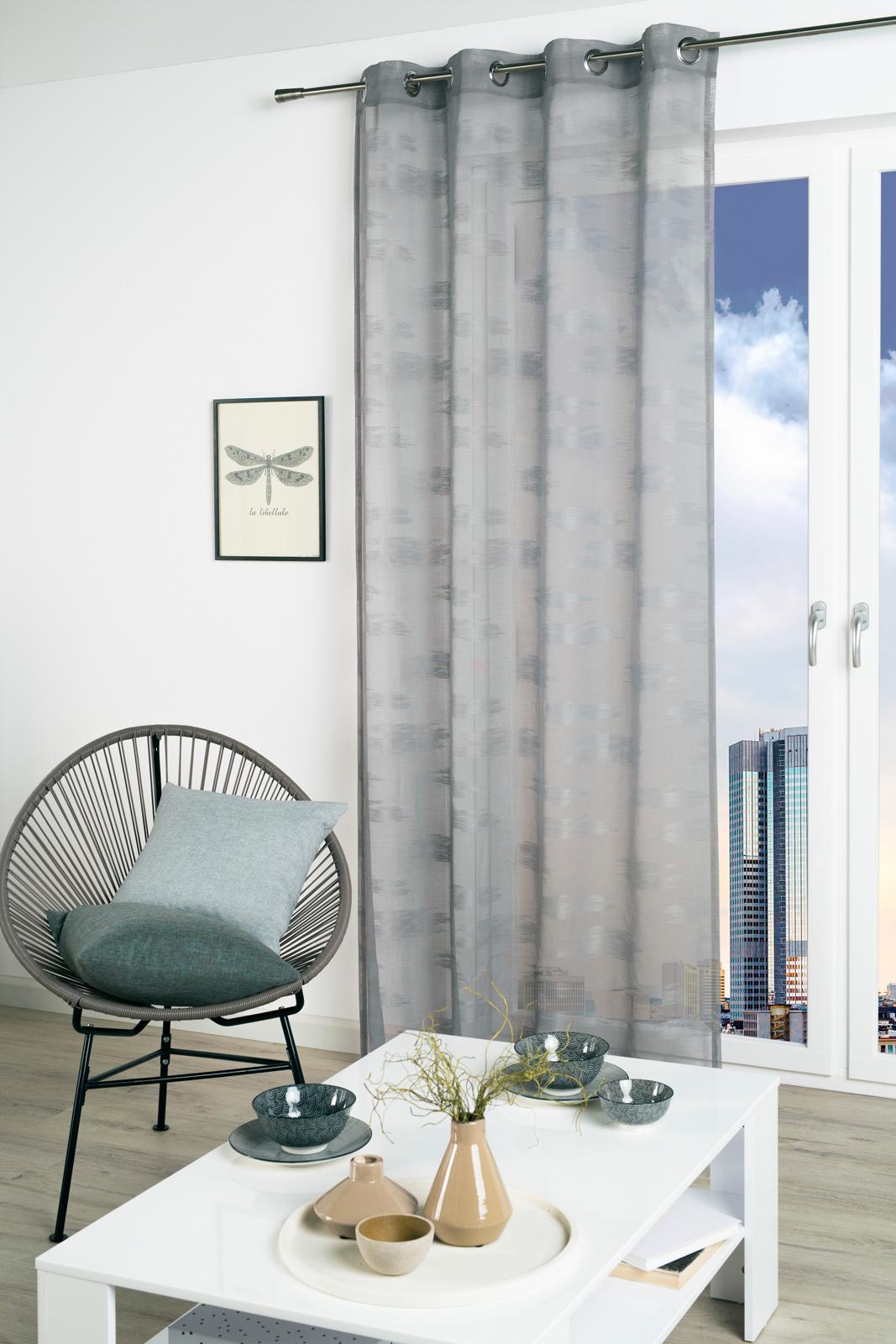 Gardinen und Vorhänge - Ösenschal Vorhang Gardine lichtdurchlässig 135x245 mit Metallösen Maren grau 300301 2  - Onlineshop PremiumShop321