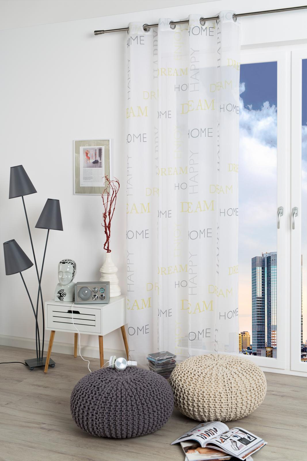 Gardinen und Vorhänge - Ösenschal Vorhang Gardine lichtdurchlässig 135x245 mit Metallösen Happy 300303  - Onlineshop PremiumShop321