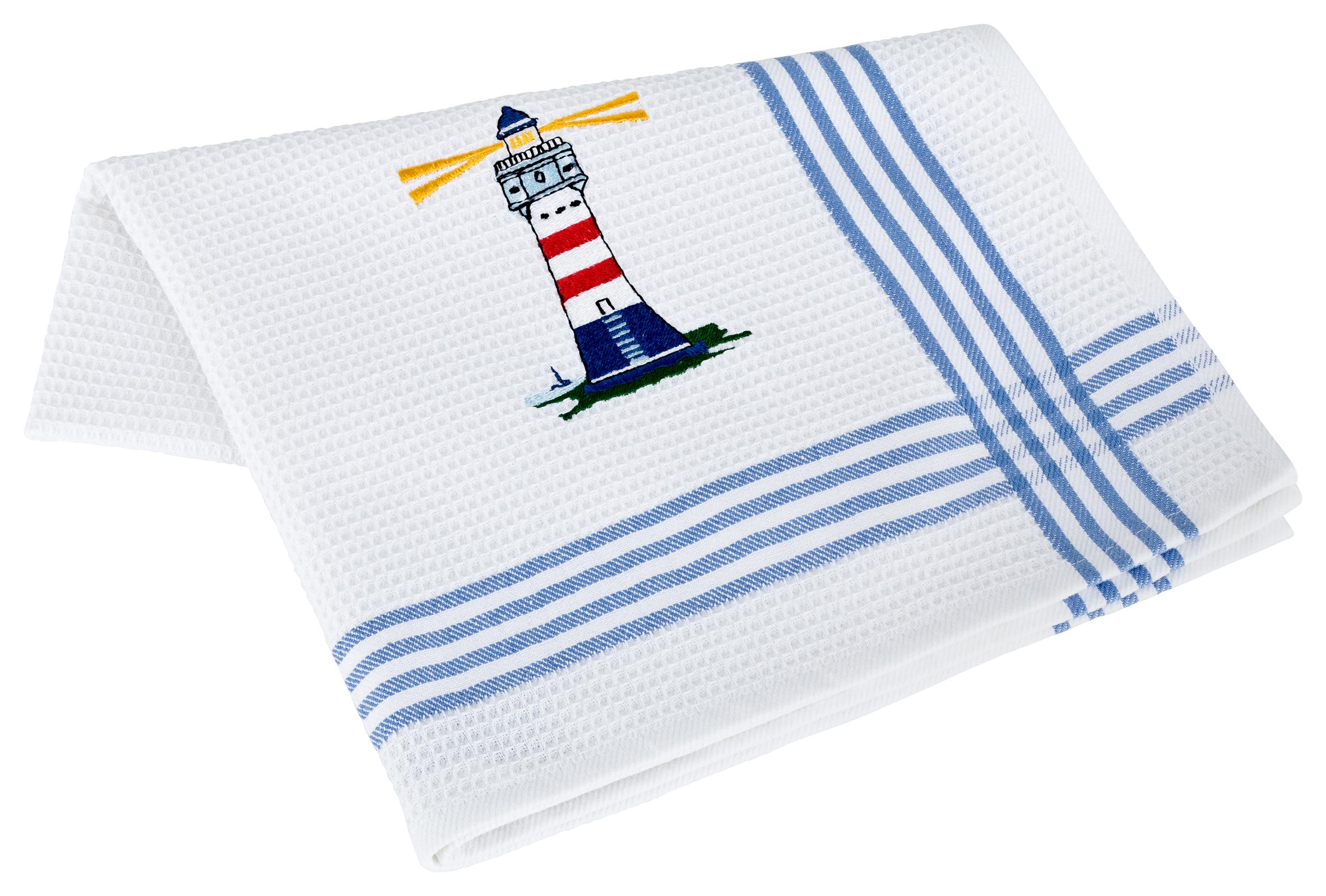 Küchentextilien - Kracht 2er Pack Geschirrtücher Küchenhandtuch Waffelpicquet 100 Baumwolle bestickt 4 410 00 Leuchtturm  - Onlineshop PremiumShop321