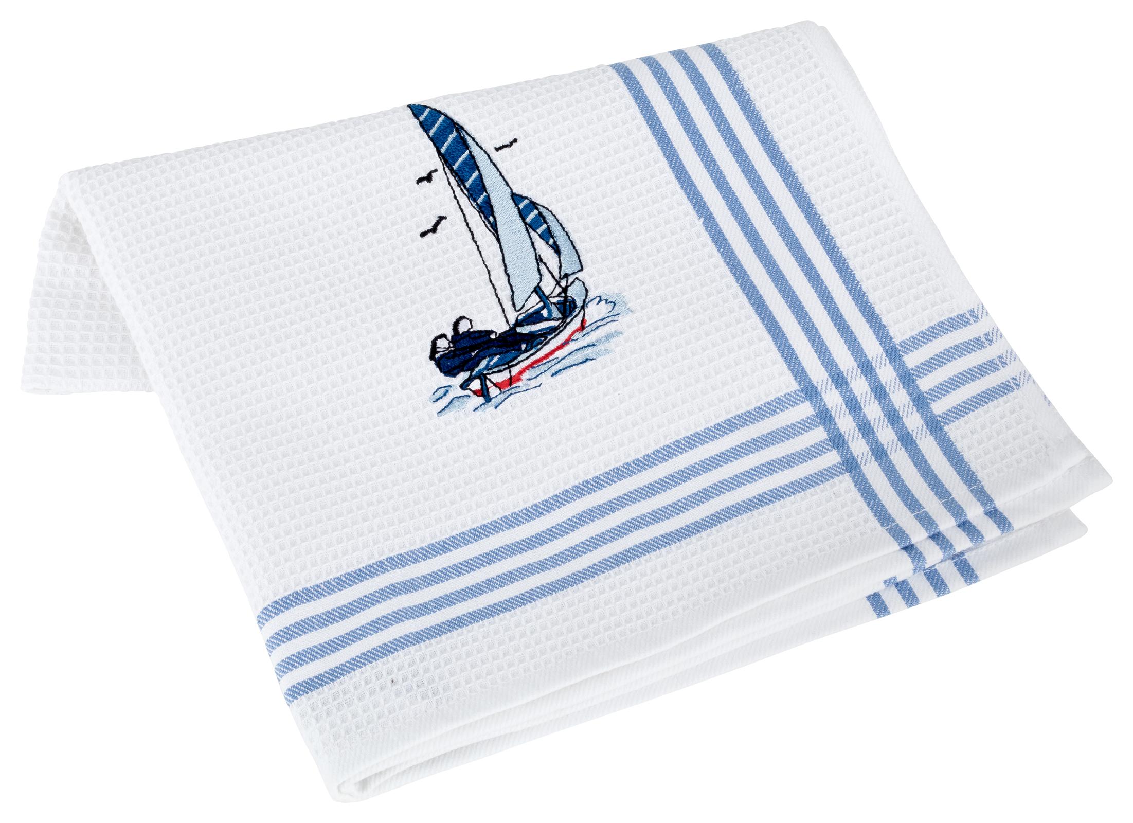 Küchentextilien - Kracht 2er Pack Geschirrtücher Küchenhandtuch Waffelpicquet 100 Baumwolle bestickt 4 412 00 Segelschiff  - Onlineshop PremiumShop321