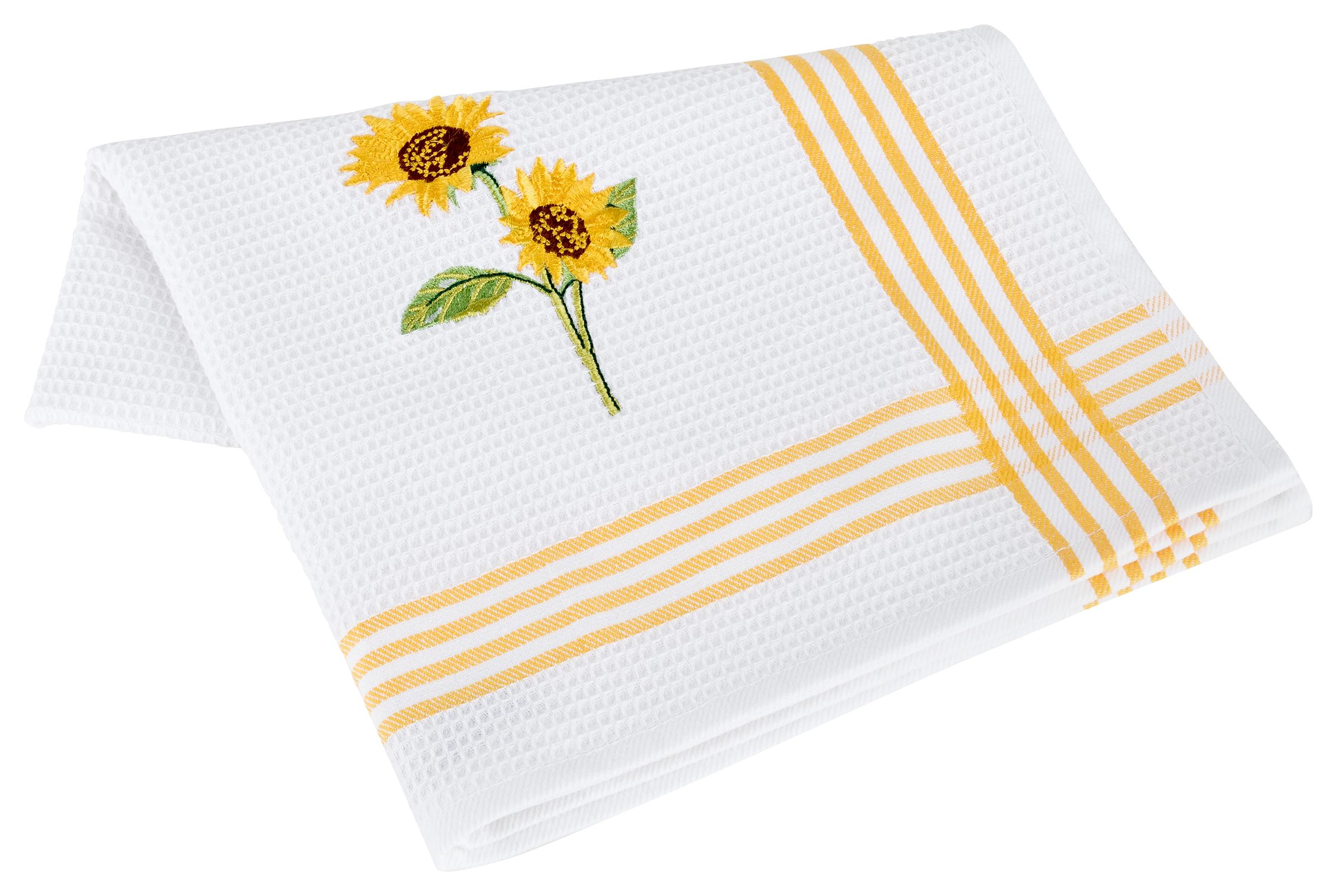 Küchentextilien - Kracht 2er Pack Geschirrtücher Küchenhandtuch Waffelpicquet 100 Baumwolle bestickt 4 422 00 Sonnenblume  - Onlineshop PremiumShop321