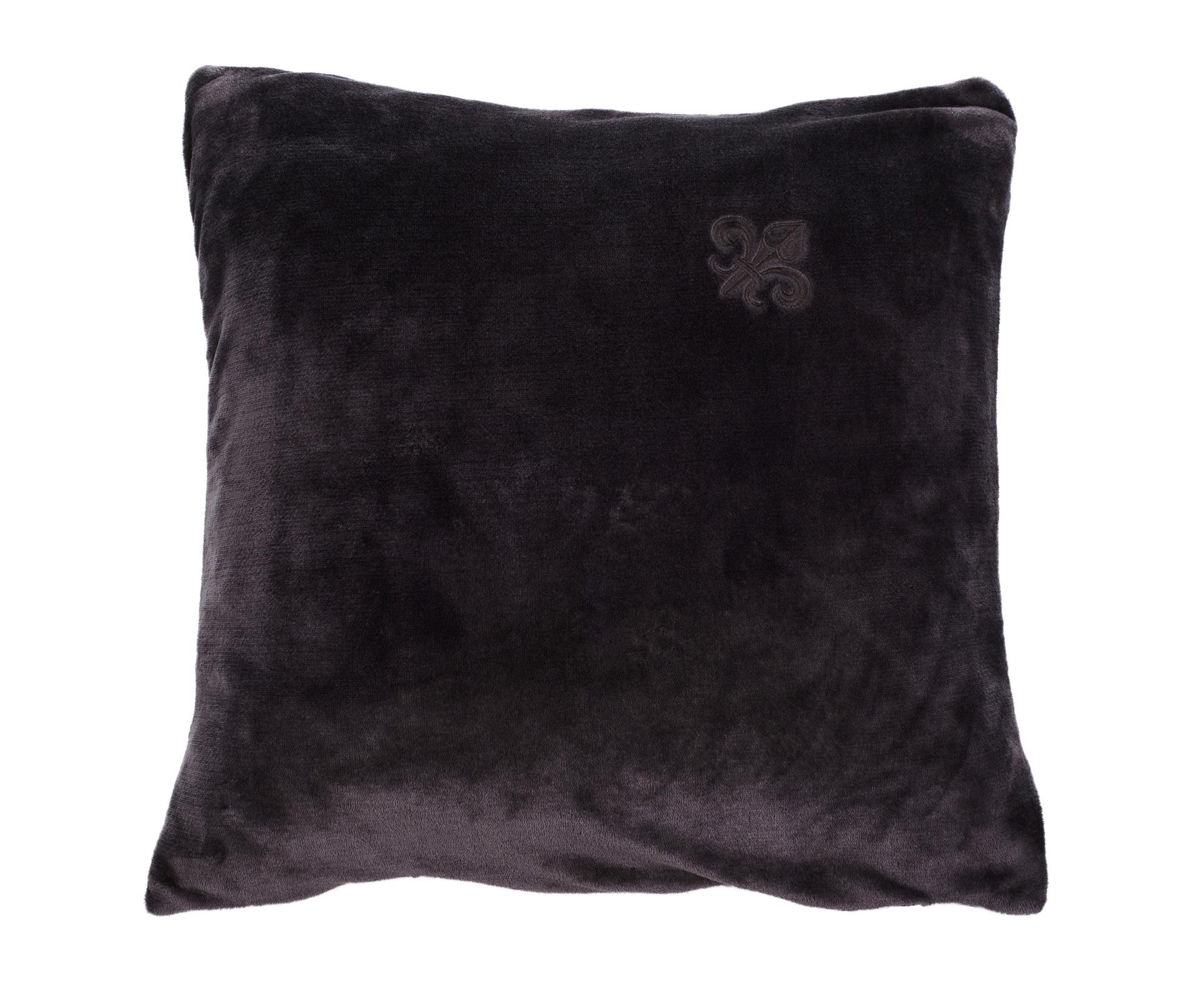 Wohndecken und Kissen - Gözze 2er Pack Luxus Kissen Dekokissen Fleur de Lys 50x50 mit Stickung anthrazit  - Onlineshop PremiumShop321