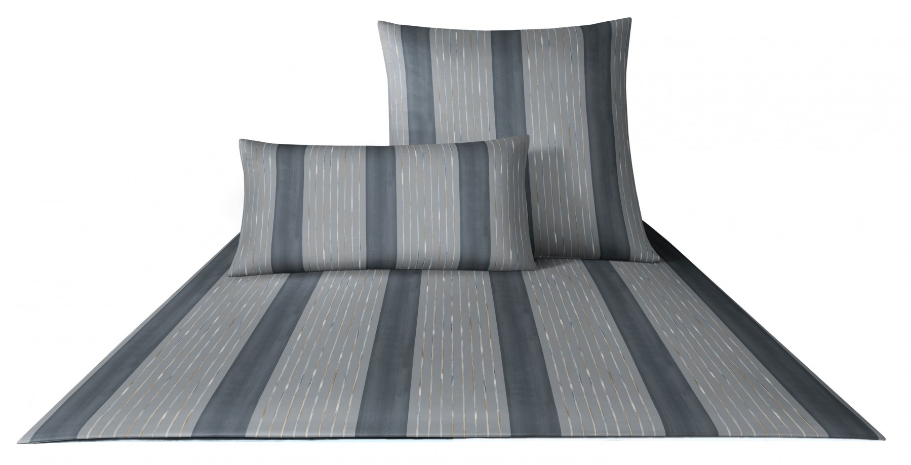 Bettwäsche - Joop Mako Satin Bettwäsche Plaza Stripes 155x220 80x80 4052 9  - Onlineshop PremiumShop321
