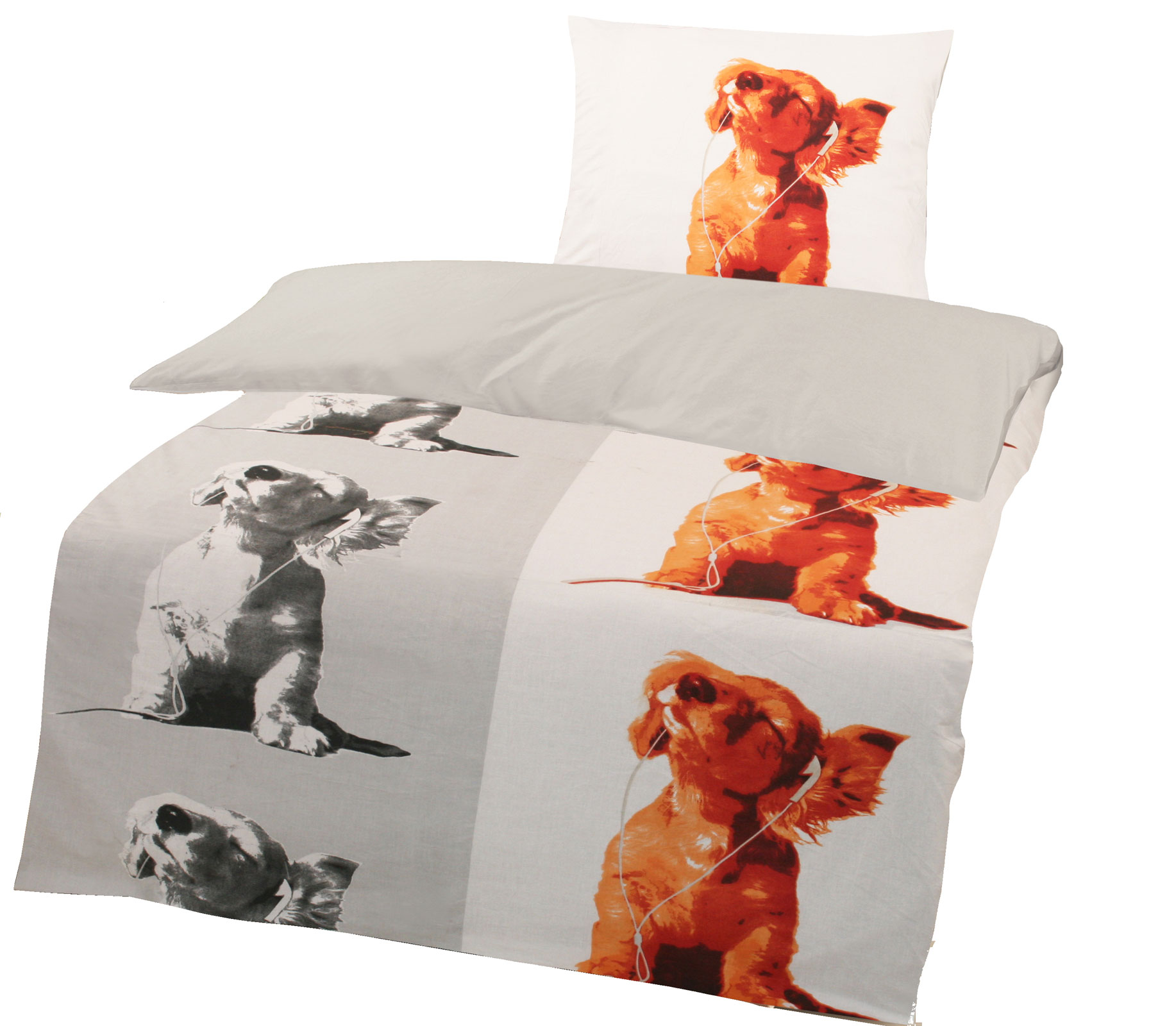 Bettwäsche - Wende Bettwäsche Renforce 135x200 Funky Dog Art. 417880  - Onlineshop PremiumShop321