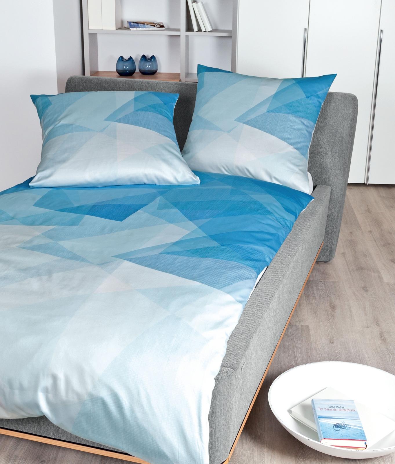 Bettwäsche - Janine Mako Satin Bettwäsche modern art 135x200 80x80 42034 aqua incl. Aufbewahrungsbeutel  - Onlineshop PremiumShop321