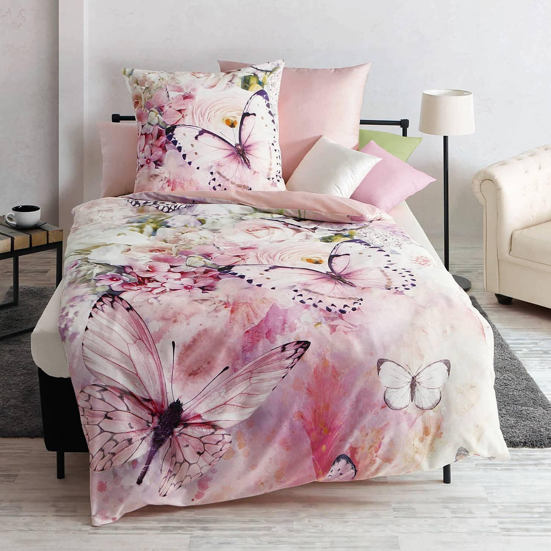 Bettwäsche - Kaeppel Mako Satin Bettwäsche Designer Digital Butterfly Dreams 135x200 Aufbewahrungsbeutel  - Onlineshop PremiumShop321
