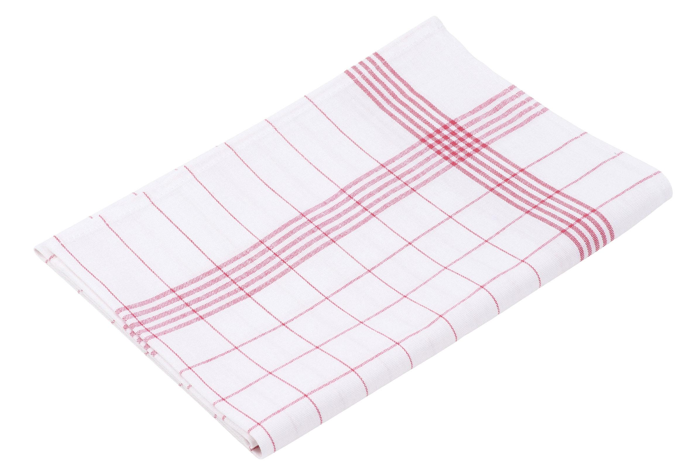 Küchentextilien - 10er Pack Gözze Halbleinen Geschirrtuch 50x70 weiß rot  - Onlineshop PremiumShop321