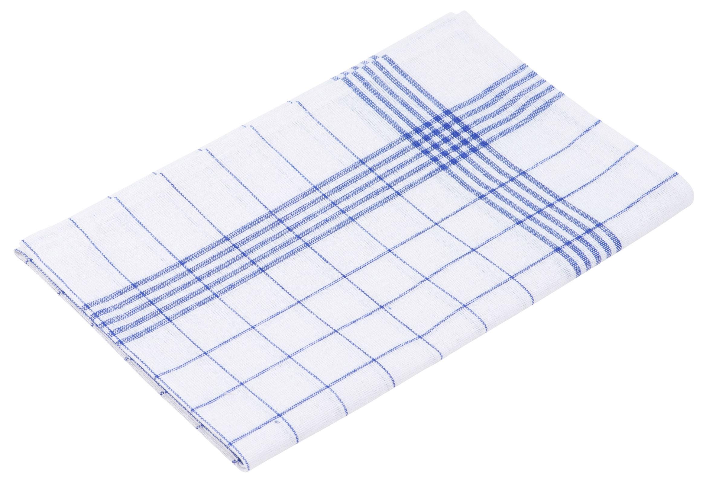 Küchentextilien - 10er Pack Gözze Halbleinen Geschirrtuch 50x70 weiß blau  - Onlineshop PremiumShop321