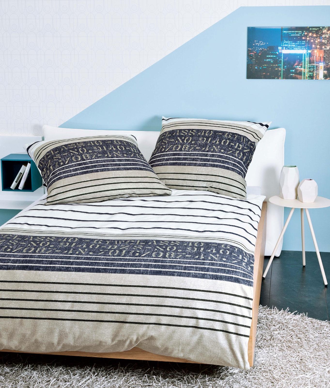 Bettwäsche - Janine Feinbiber Bettwäsche DAVOS 65013 07 taupe jeansblau incl. Aufbewahrungsbeutel  - Onlineshop PremiumShop321
