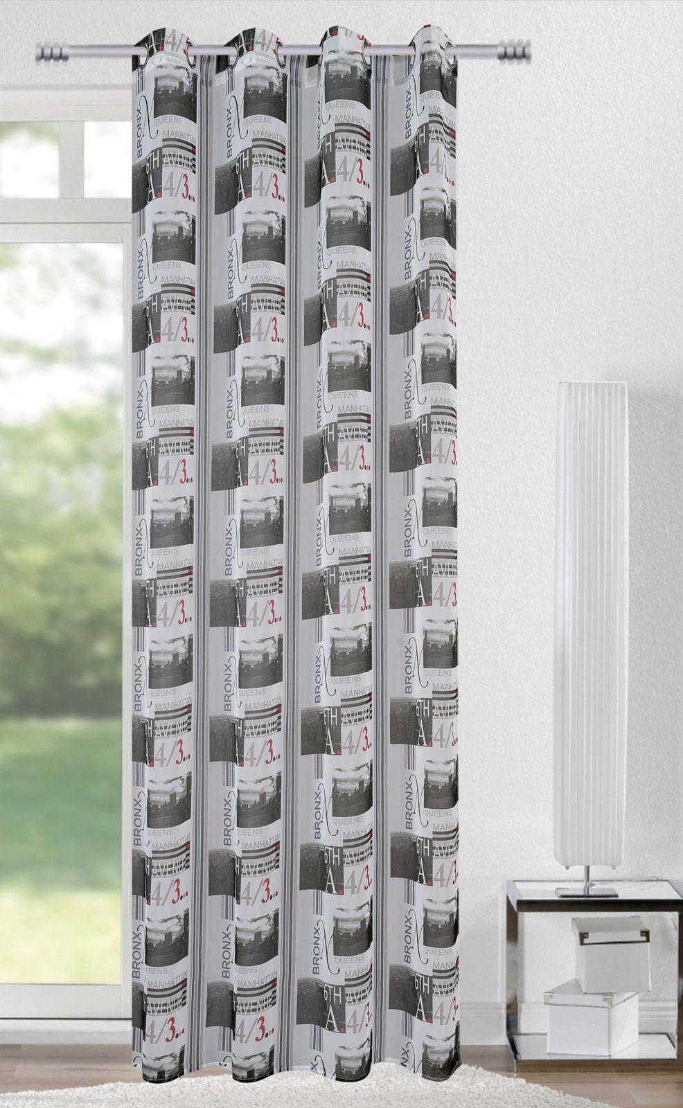 Gardinen und Vorhänge - Ösenschal Vorhang Gardine 140x245 mi Bronx Manhattan 6th avenue 400592  - Onlineshop PremiumShop321