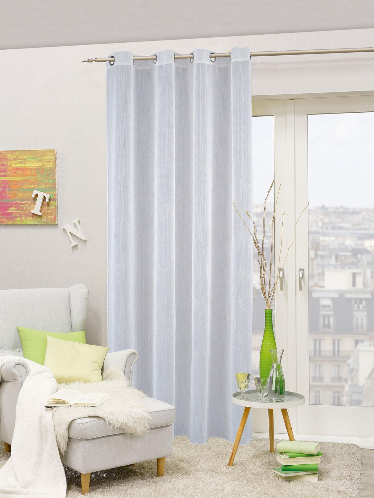 Gardinen und Vorhänge - Ösenschal Vorhang Gardine 140x245 lichtdurchlässig mit Metallösen Carmen 898108  - Onlineshop PremiumShop321