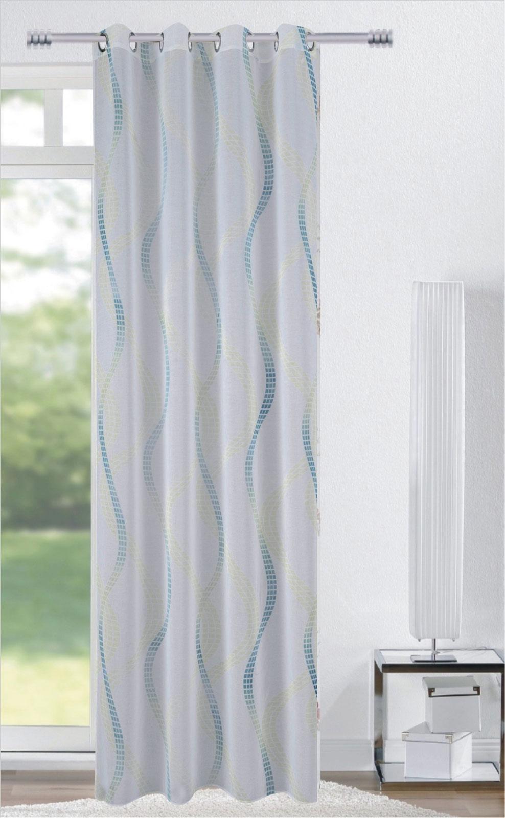 Gardinen und Vorhänge - Ösenschal Vorhang Gardine 140x245 mit Metallösen Welle türkis 400257  - Onlineshop PremiumShop321