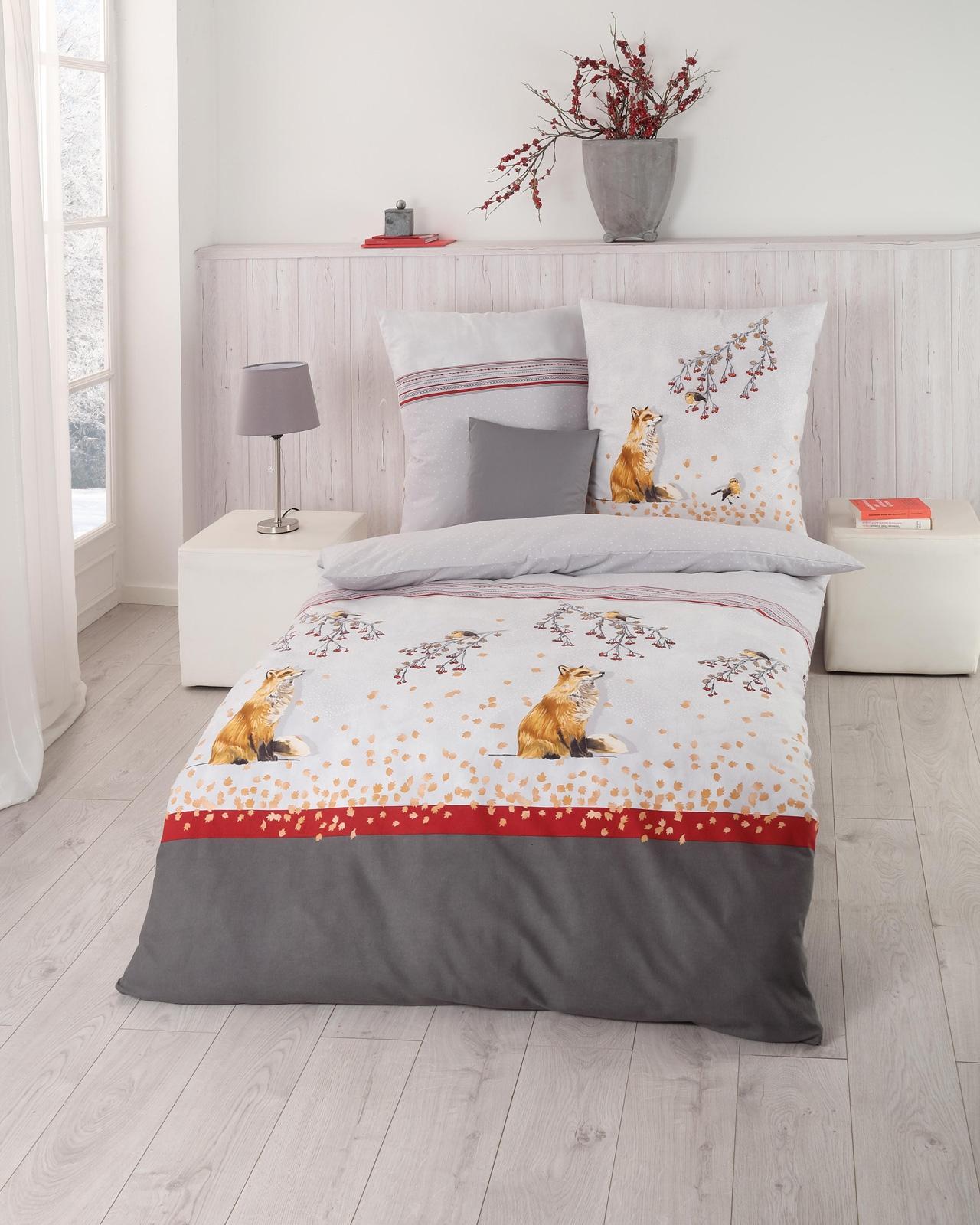 Bettwäsche - Kaeppel Biber Bettwäsche 100 Baumwolle Fox anthrazit 155x220 Aufbewahrungsbeutel  - Onlineshop PremiumShop321