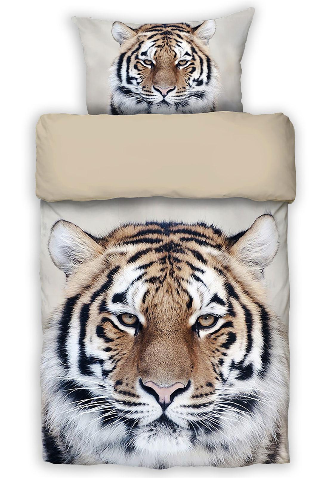 Bettwäsche - Mako Satin Bettwäsche Tiger 135x200 Digitaldruck von MOON Art. D1831 655  - Onlineshop PremiumShop321