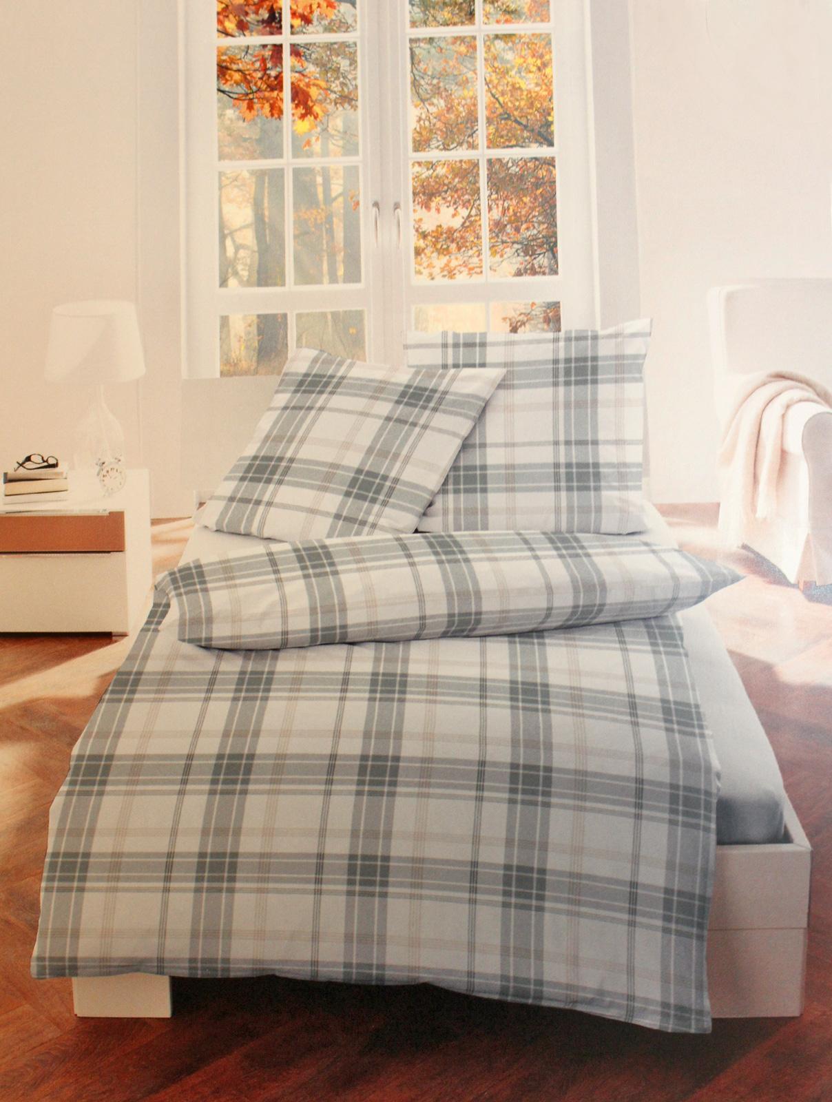 Bettwäsche - Bettwäsche Bettgarnitur Flanell Baumwolle 135x200 80x80 Karo taupe  - Onlineshop PremiumShop321