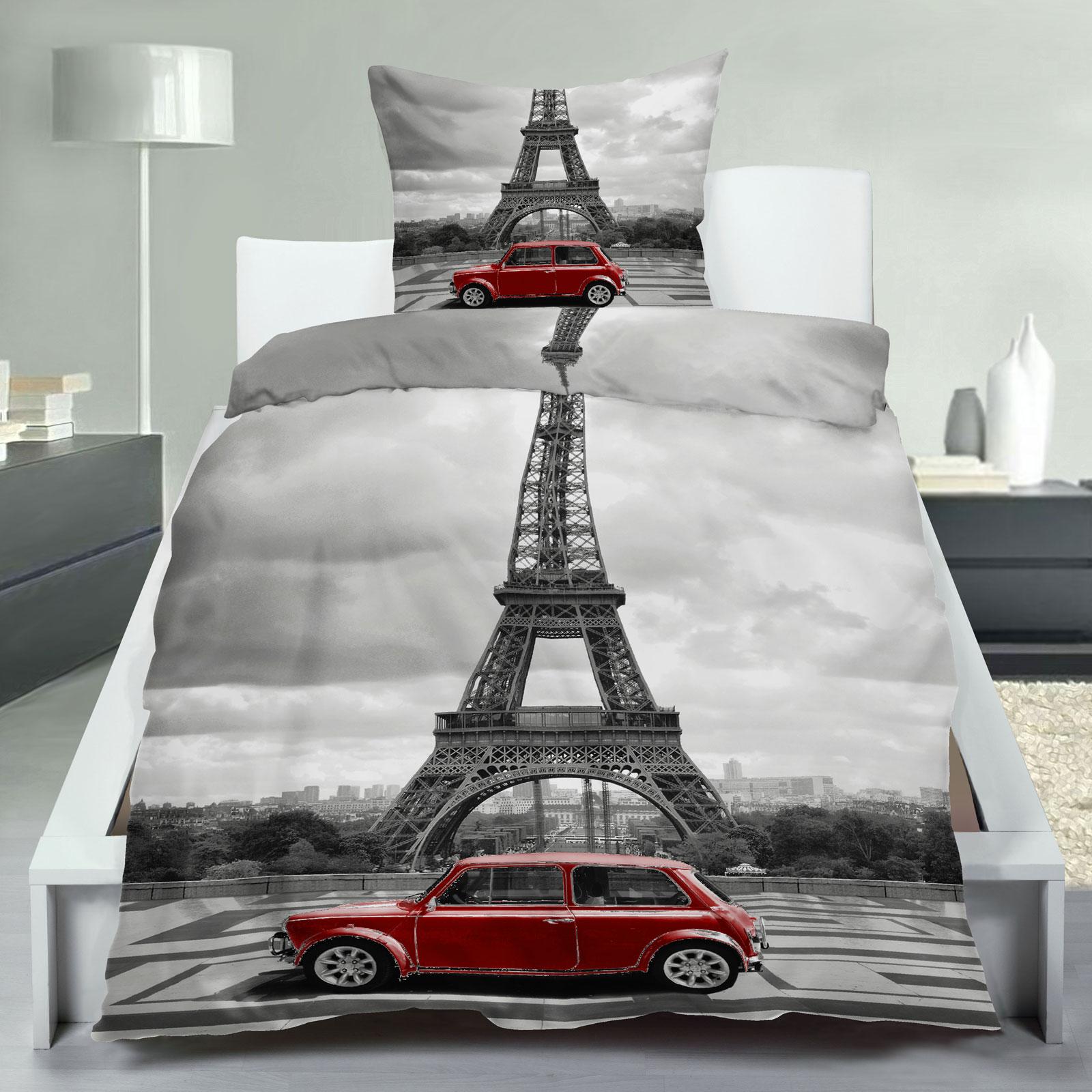 bettw sche eiffelturm paris microfaser 135x200 art nr 114231 ebay. Black Bedroom Furniture Sets. Home Design Ideas