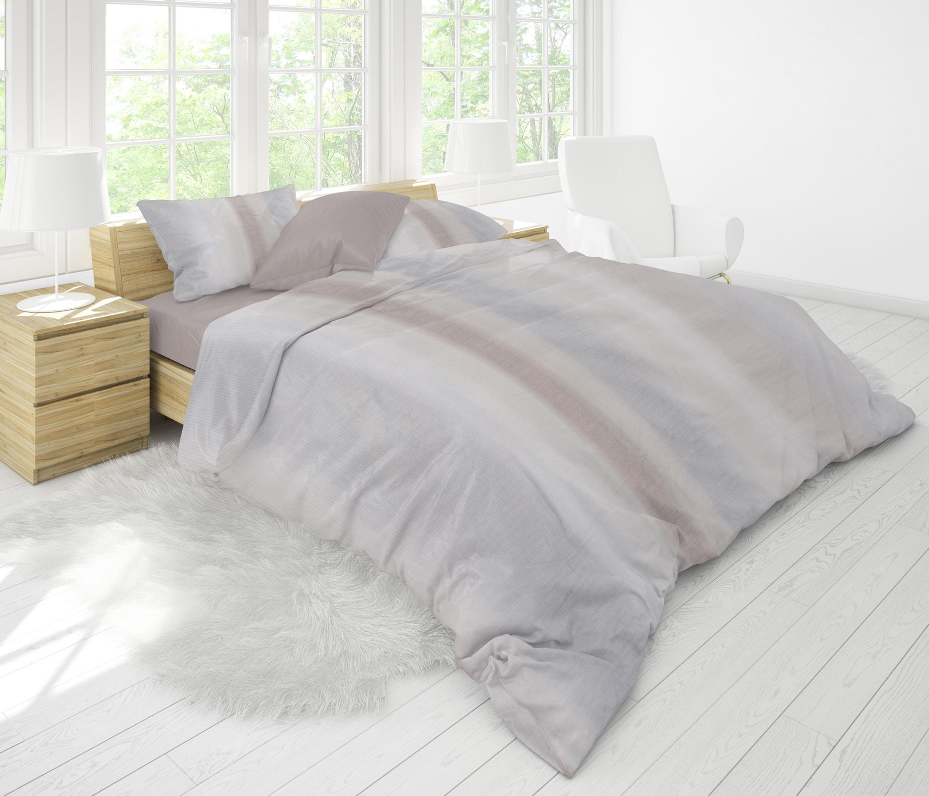 Bettwäsche - MOON Luxury Damast Bettwäsche Rainbow Streifen beige 155x220 80x80 100 Baumwolle YKK Reißverschluss  - Onlineshop PremiumShop321